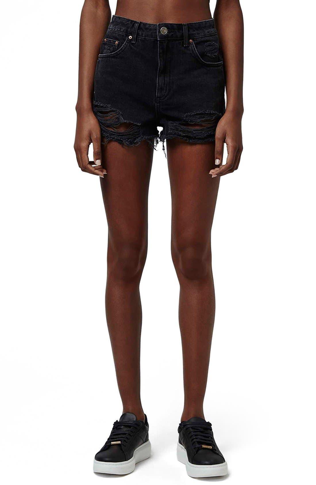 Ripped High Rise Denim Shorts,                         Main,                         color, Black