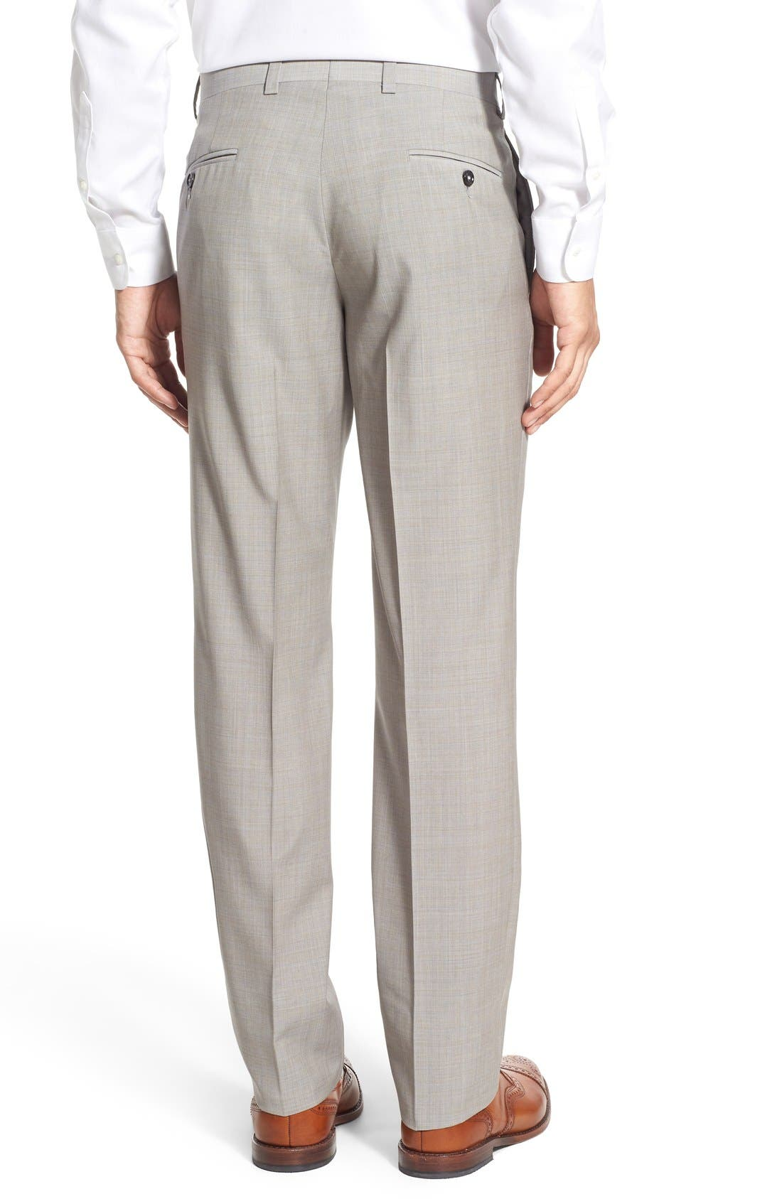 'Jefferson' Flat Front Solid Wool Trousers,                             Alternate thumbnail 3, color,                             Tan