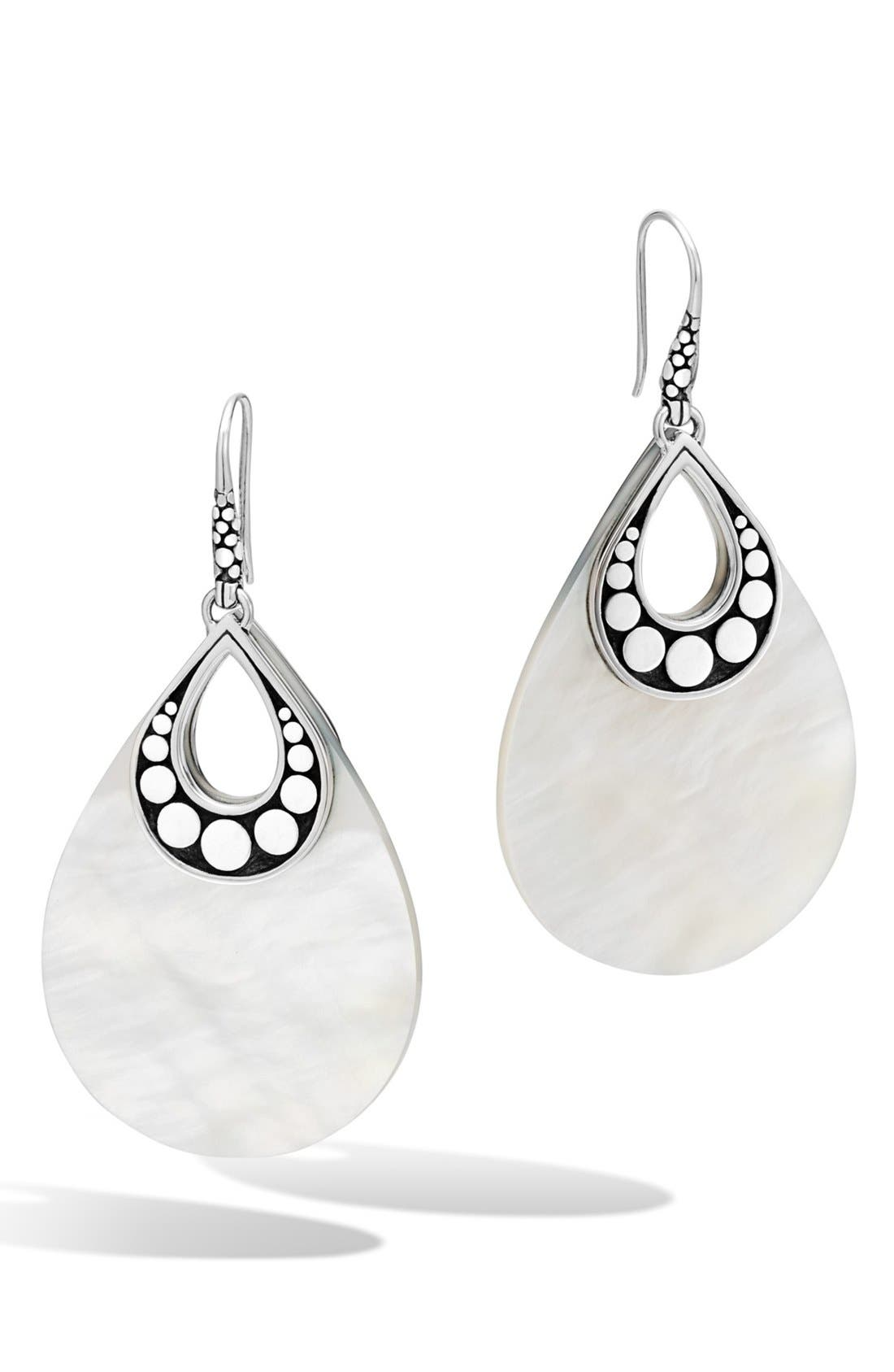 'Dot' Drop Earrings,                             Main thumbnail 1, color,                             Silver/ Mother Of Pearl