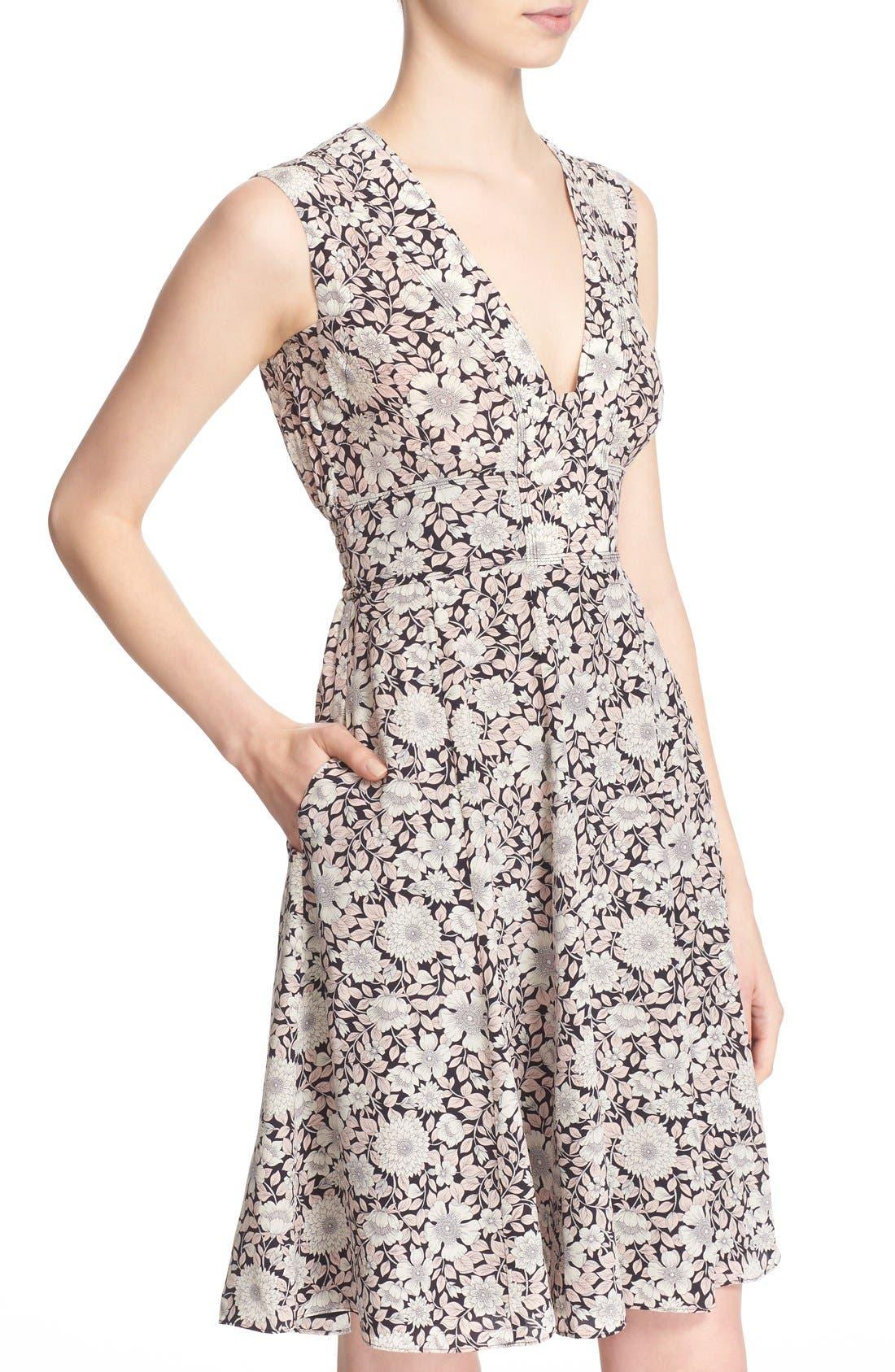 Alternate Image 4  - Rebecca Taylor 'Lindsay' Floral Print Sleeveless Silk Fit & Flare Dress