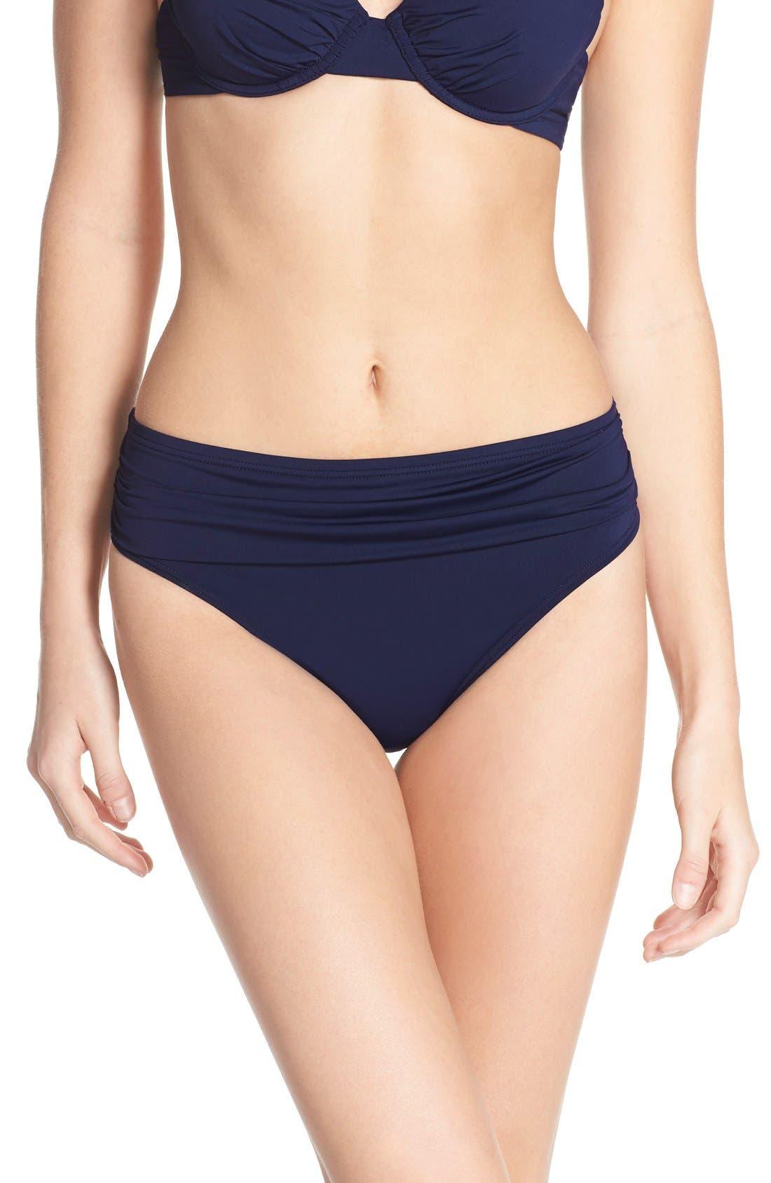 'Pearl' High Waist Bikini Bottoms,                         Main,                         color, Mare Navy