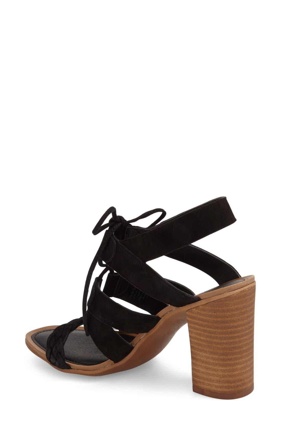 'Sierra' Block Heel Sandal,                             Alternate thumbnail 4, color,                             Black Kid Suede