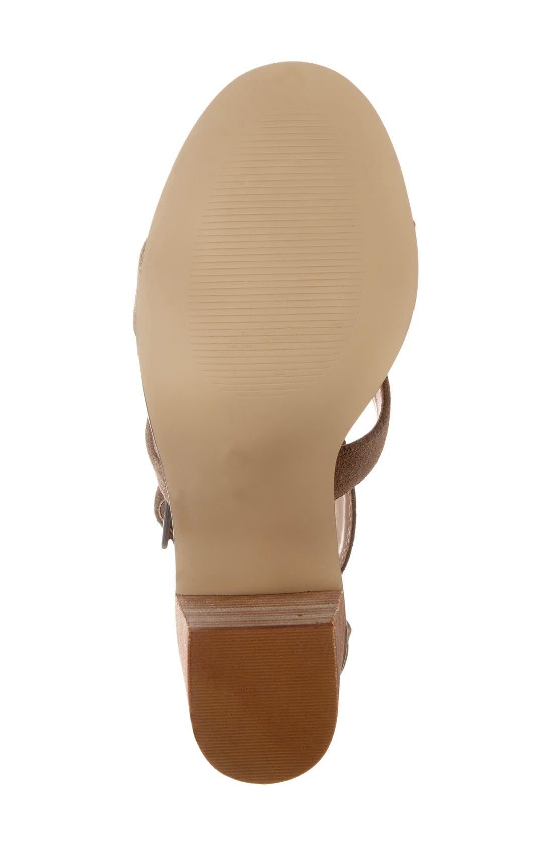 'Delilah' Fringe Sandal,                             Alternate thumbnail 4, color,                             Taupe Suede