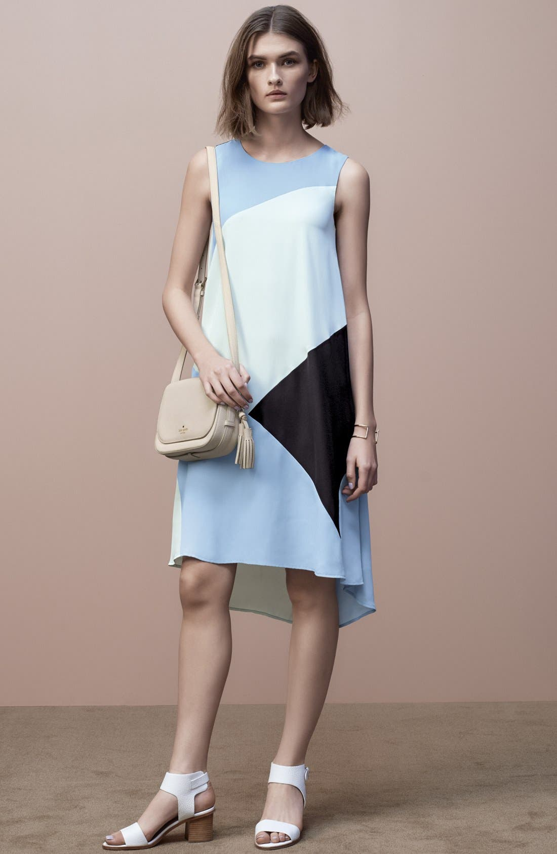 Alternate Image 6  - Vince Camuto Colorblock High/Low Hem Shift Dress (Regular & Petite)