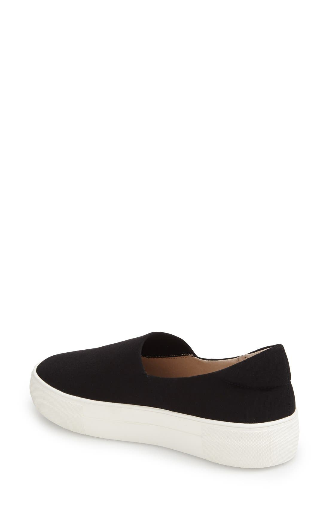 'Ariana' Platform Sneaker,                             Alternate thumbnail 2, color,                             Black Fabric