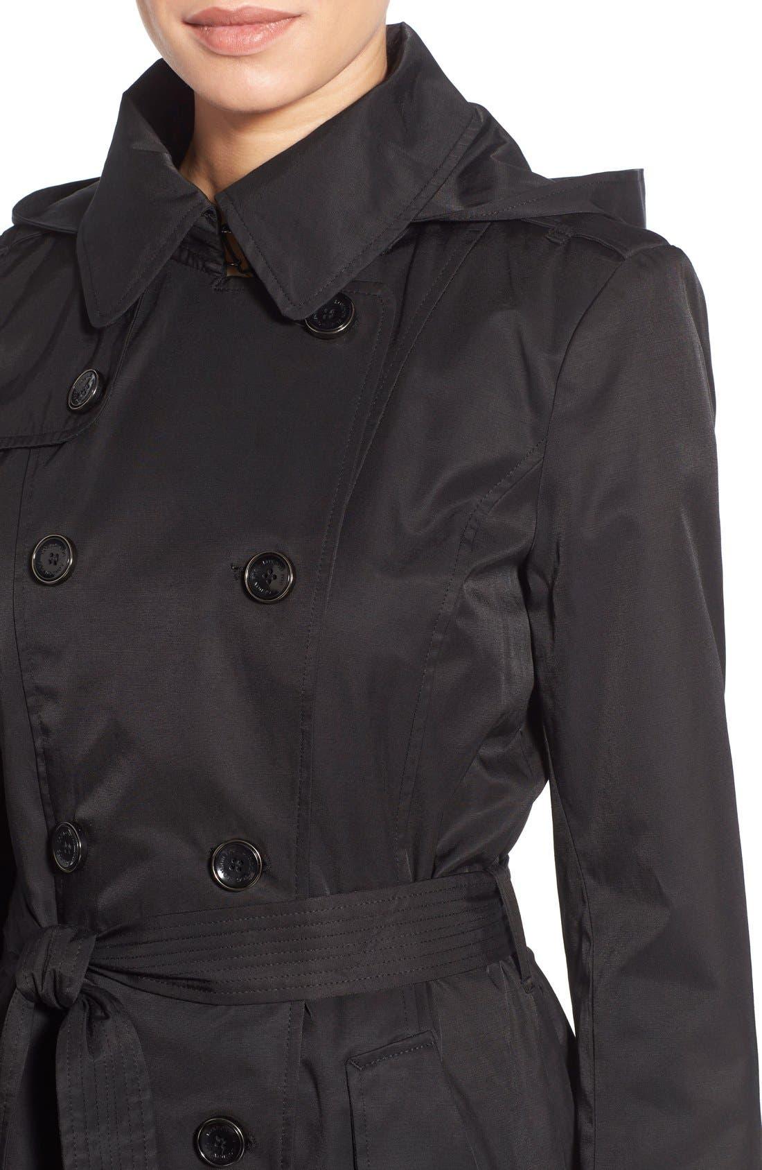Alternate Image 4  - London Fog Hooded Double Breasted Trench Coat (Regular & Petite)