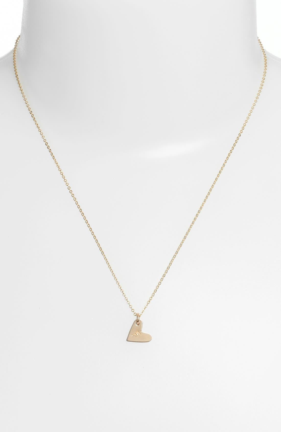 14k-Gold Fill Initial Mini Heart Pendant Necklace,                             Alternate thumbnail 2, color,                             Gold/ F