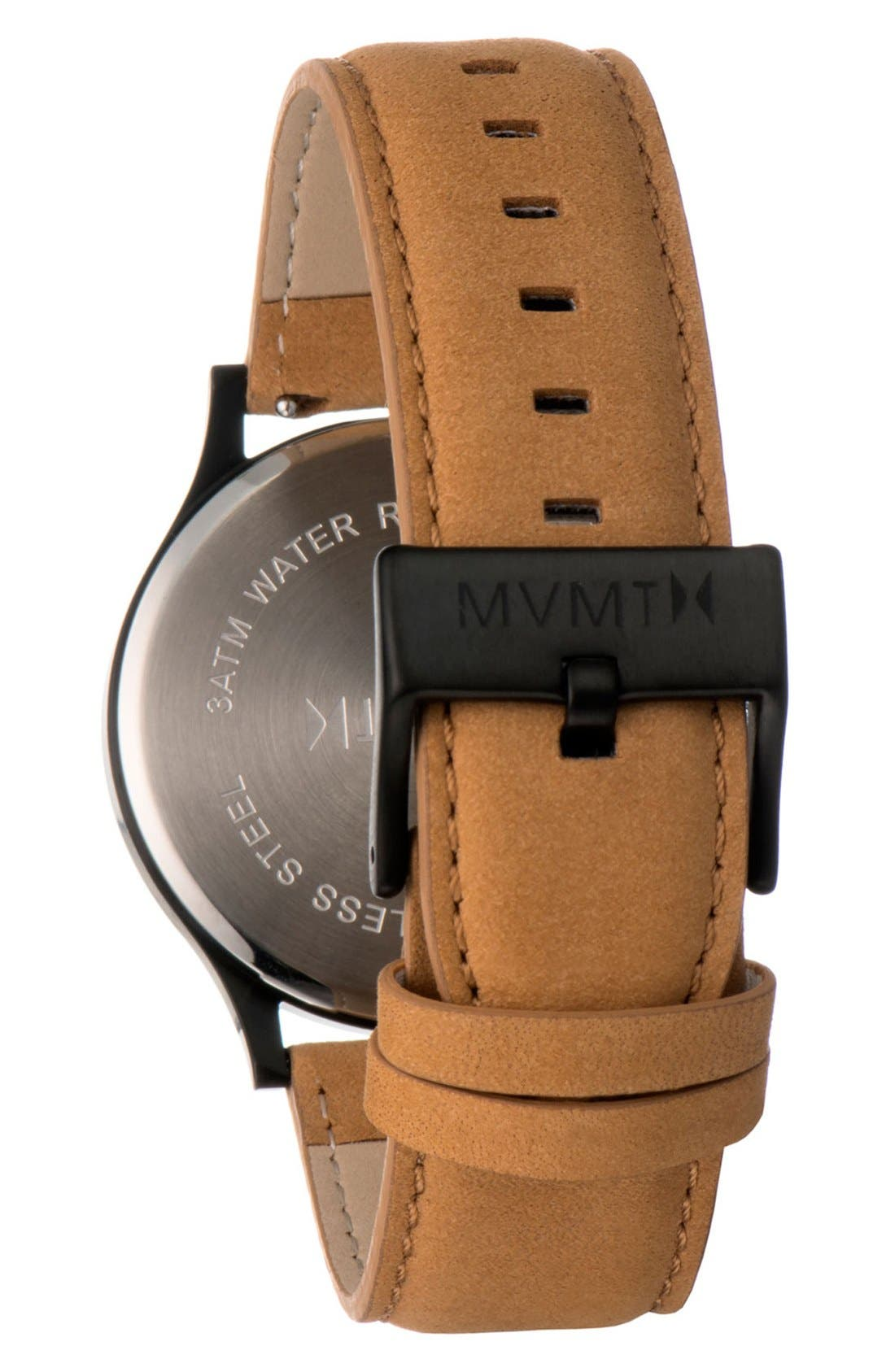 Leather Strap Watch, 40mm,                             Alternate thumbnail 2, color,                             Tan/ Black
