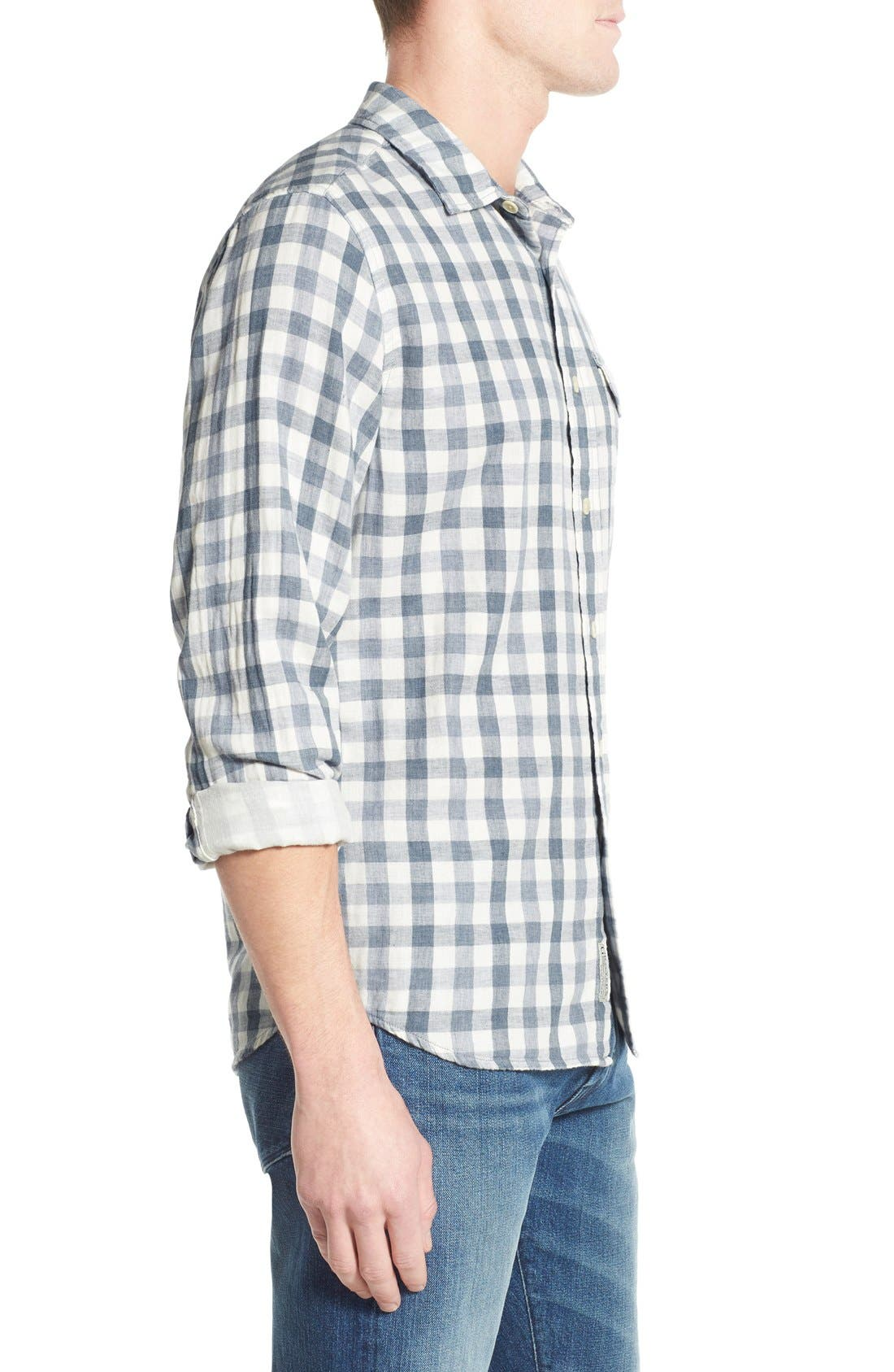 'Denby' Trim Fit Double Woven Sport Shirt,                             Alternate thumbnail 3, color,                             Heather Blue/ Cream Gingham