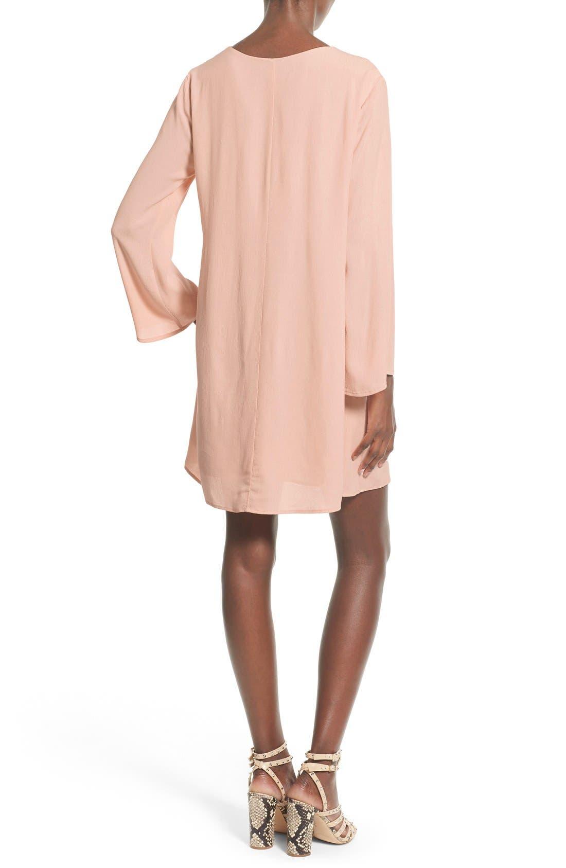Alternate Image 2  - ASTR Lace-Up Bell Sleeve Shift Dress