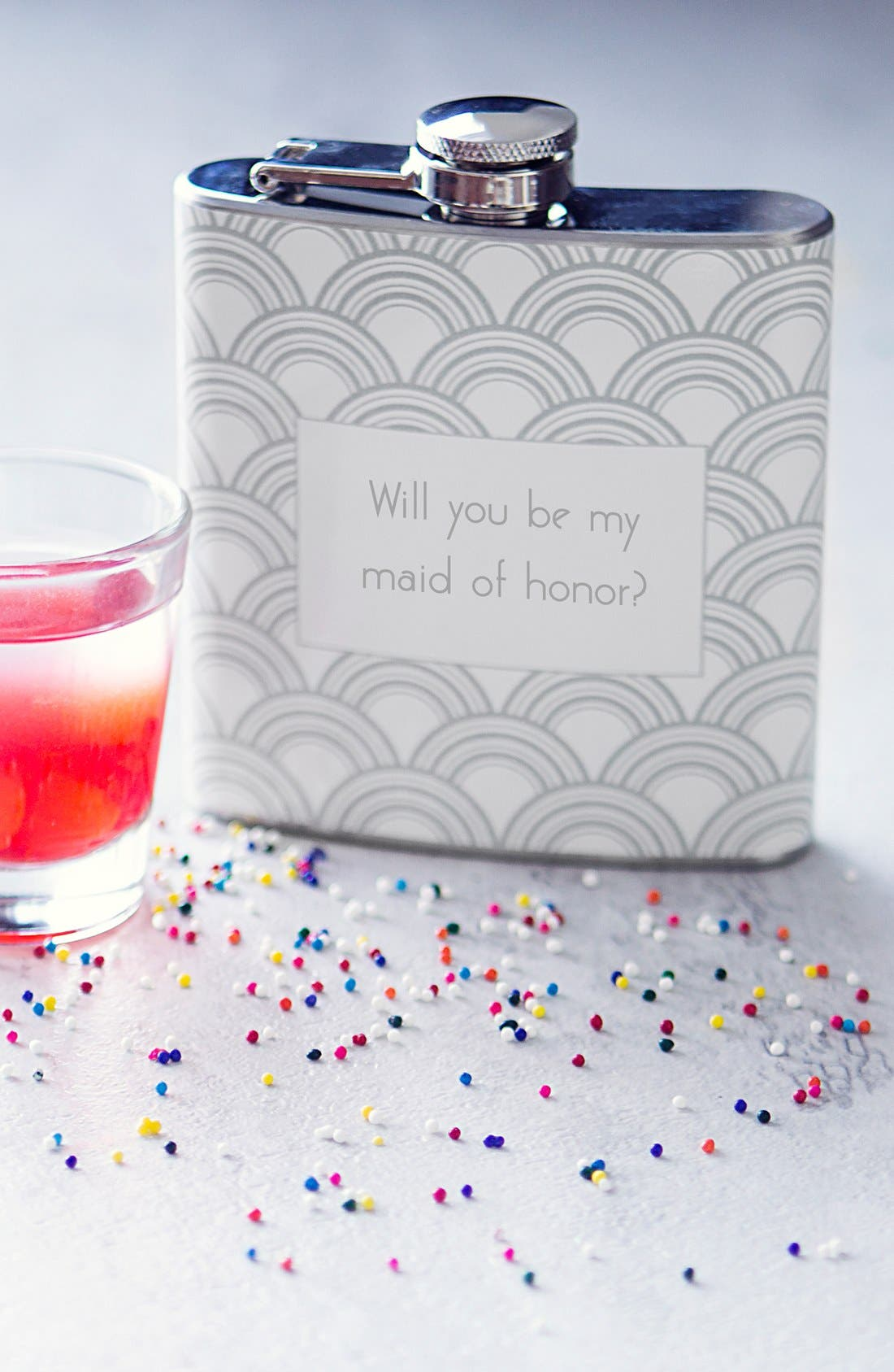 'Will You Be My Maid of Honor?' Print Flask,                         Main,                         color, Silver