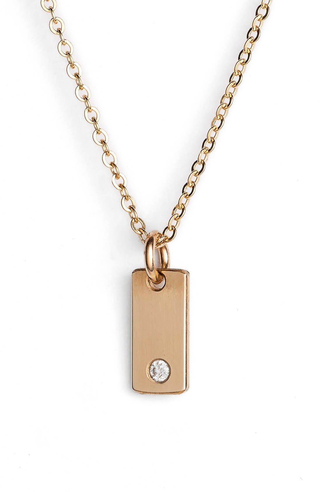 Diamond Bar Pendant Necklace,                             Main thumbnail 1, color,                             Gold