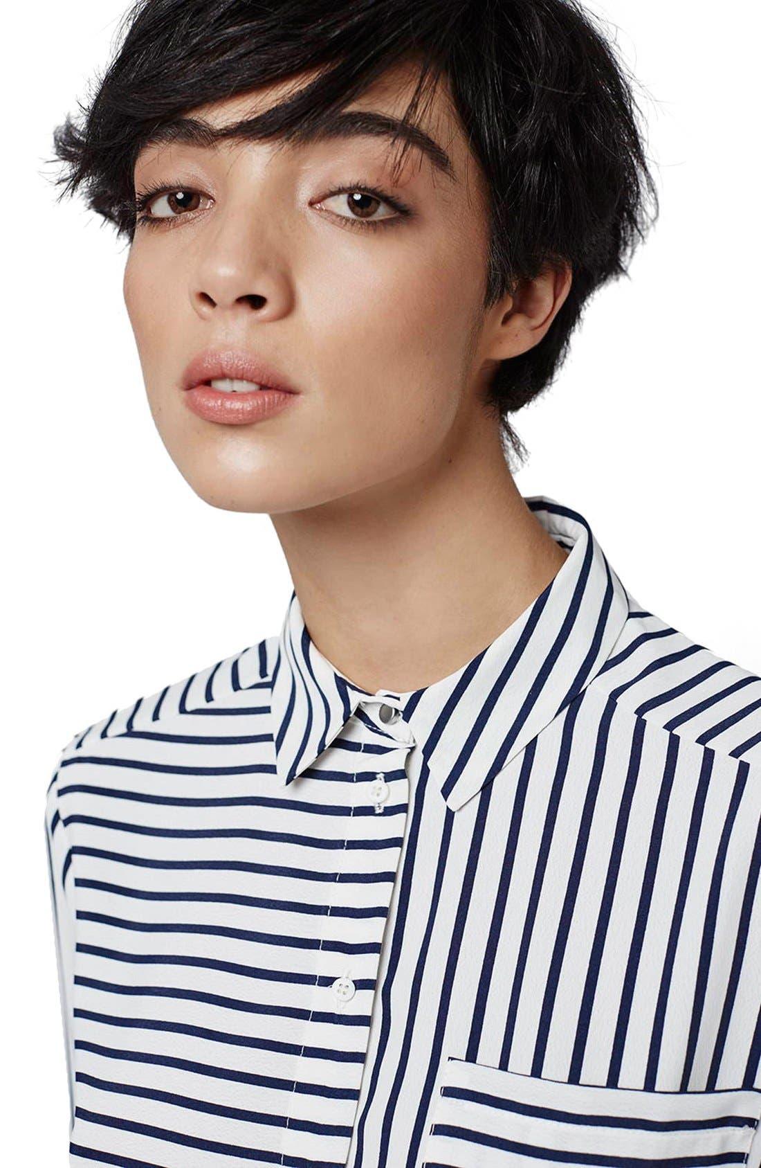 Alternate Image 5  - Topshop 'Olivia' Paneled Stripe Shirt