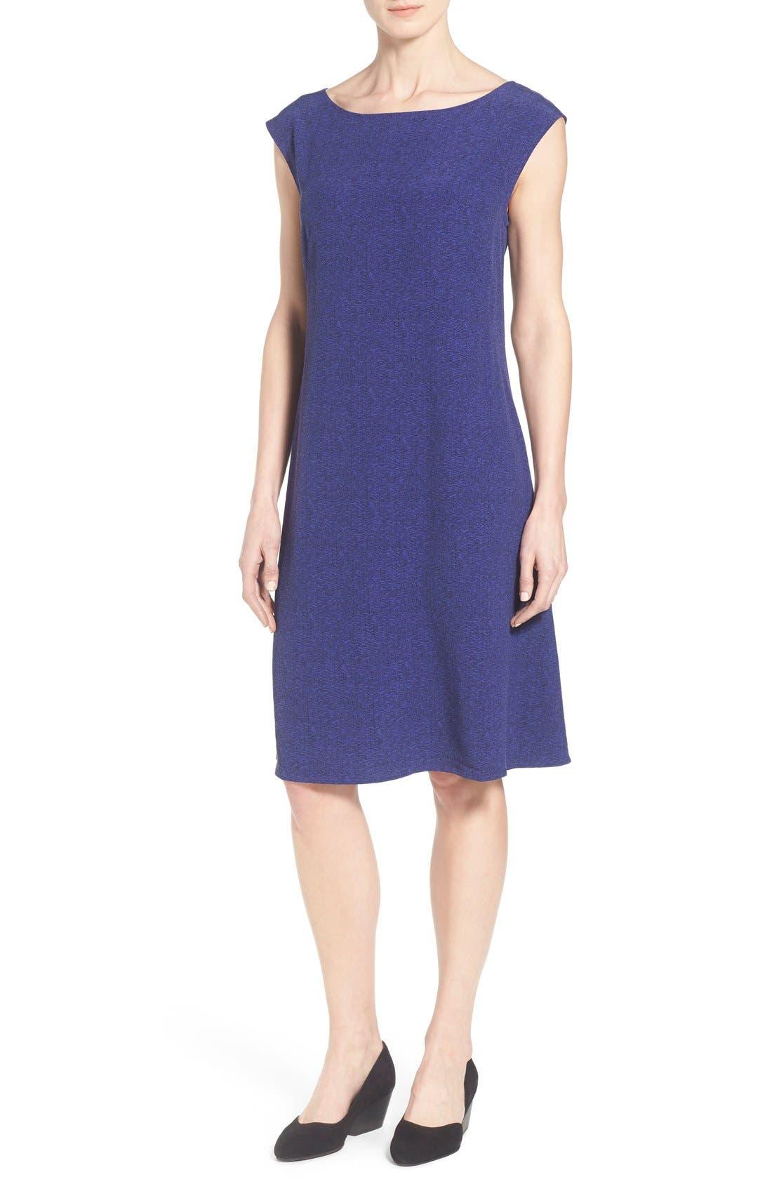 Alternate Image 1 Selected - Eileen Fisher Print Ballet Neck Knee Length Dress