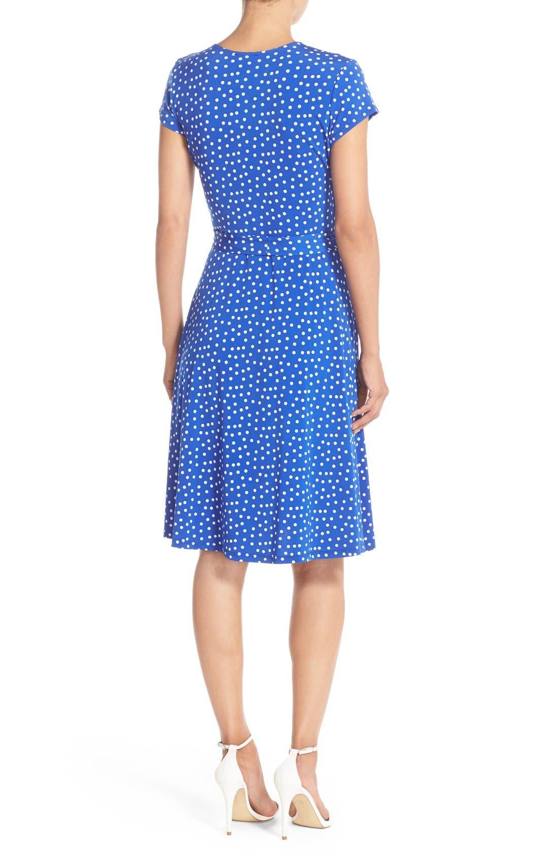 Alternate Image 2  - Leota 'Perfect' Faux Wrap Polka Dot Jersey Dress