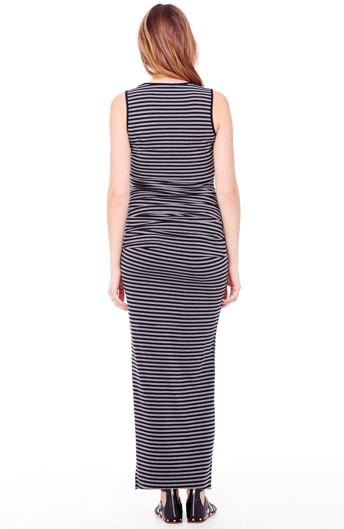 Striped Tank Maternity Maxi Dress,                             Alternate thumbnail 2, color,                             Black/ Heather Grey Stripe