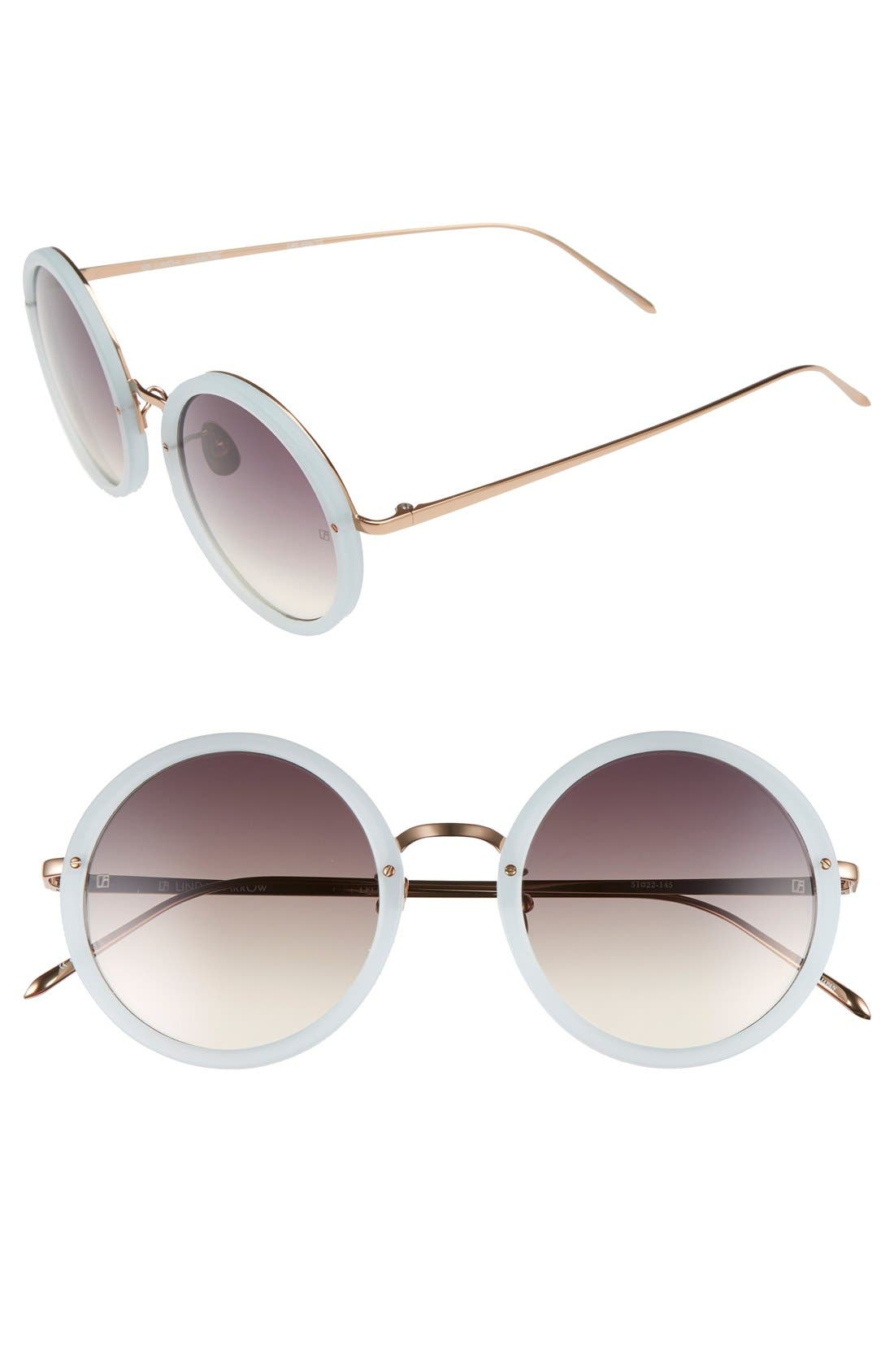 51mm Round 18 Karat Rose Gold Sunglasses,                             Main thumbnail 1, color,                             Iris/ Grey Grad