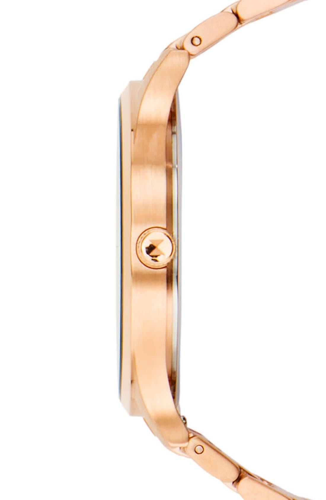 Bracelet Watch, 40mm,                             Alternate thumbnail 3, color,                             Rose Gold/ Black