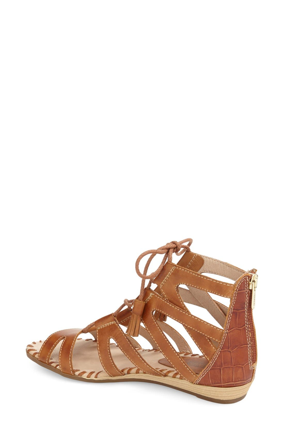 'Alcudia' Lace-Up Sandal,                             Alternate thumbnail 2, color,                             Brandy/ Brandy Leather