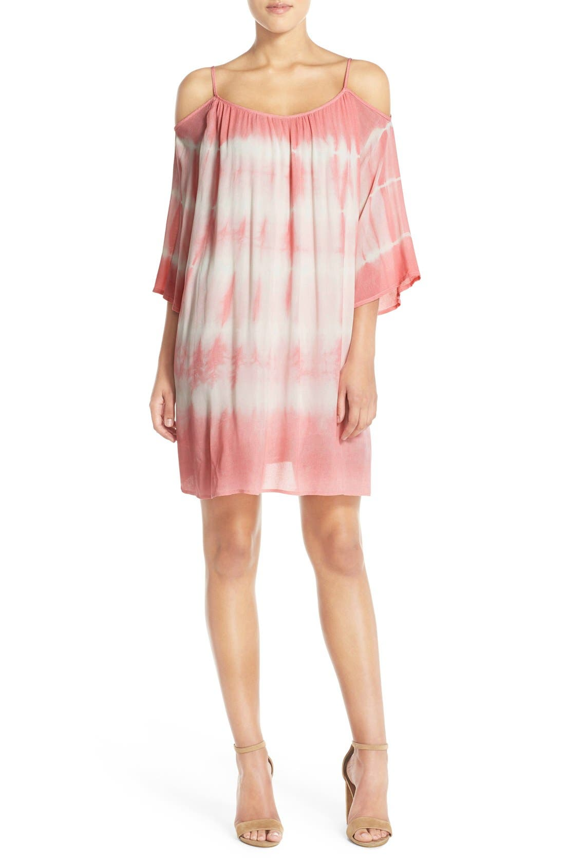 Alternate Image 5  - Fraiche by J Tie Dye Crepe Cold Shoulder Dress