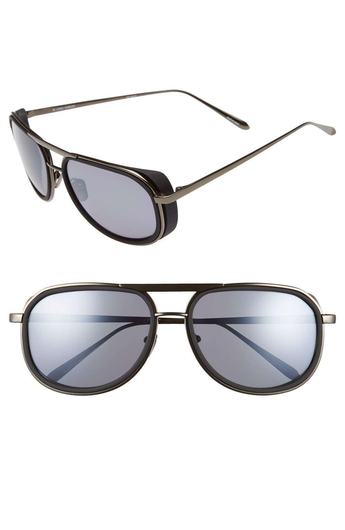 58mm Sunglasses,                         Main,                         color, Black/ Matte Silver