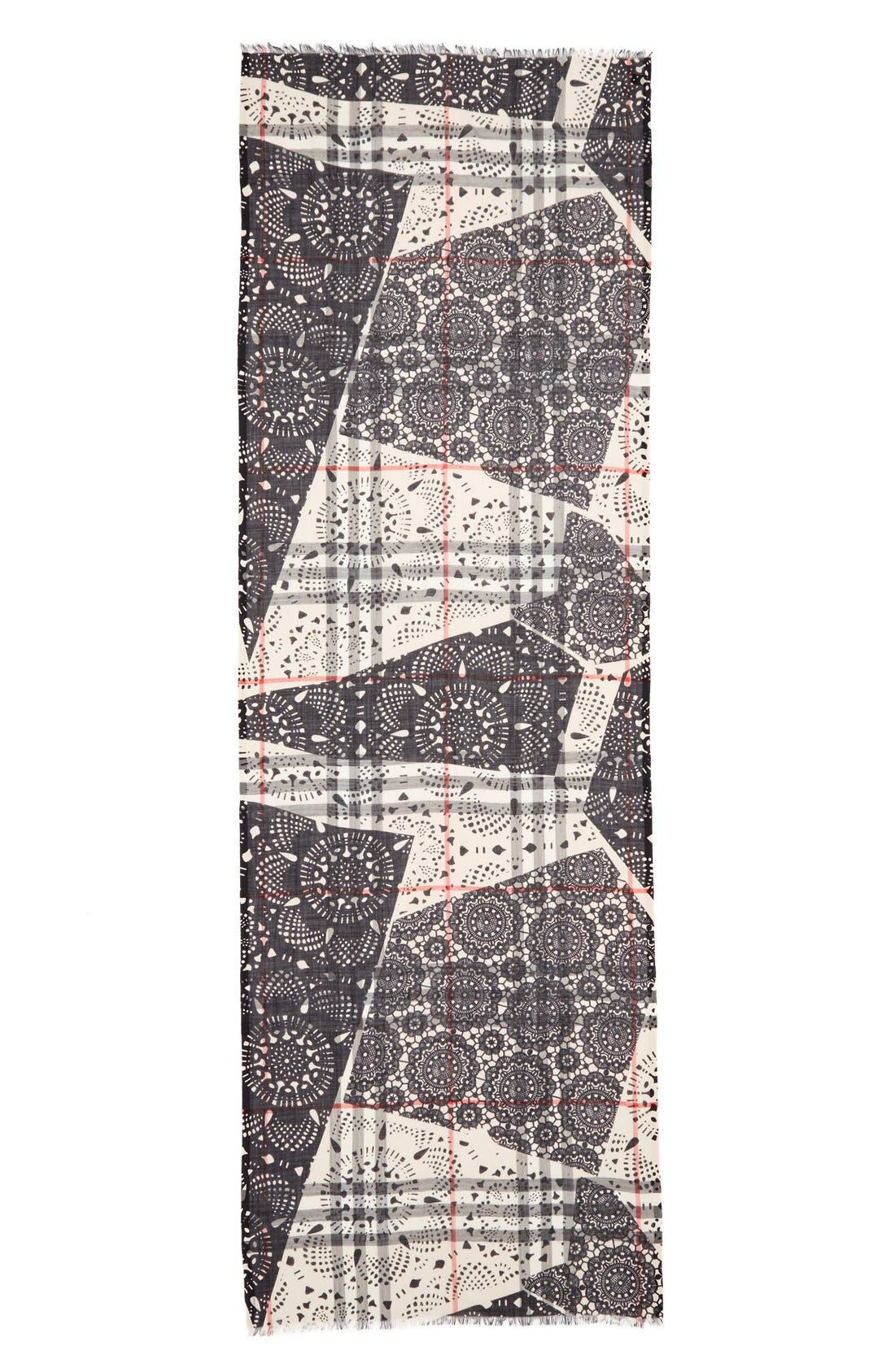 Alternate Image 2  - Burberry Lace Patchwork & Check Print Wool & Silk Scarf