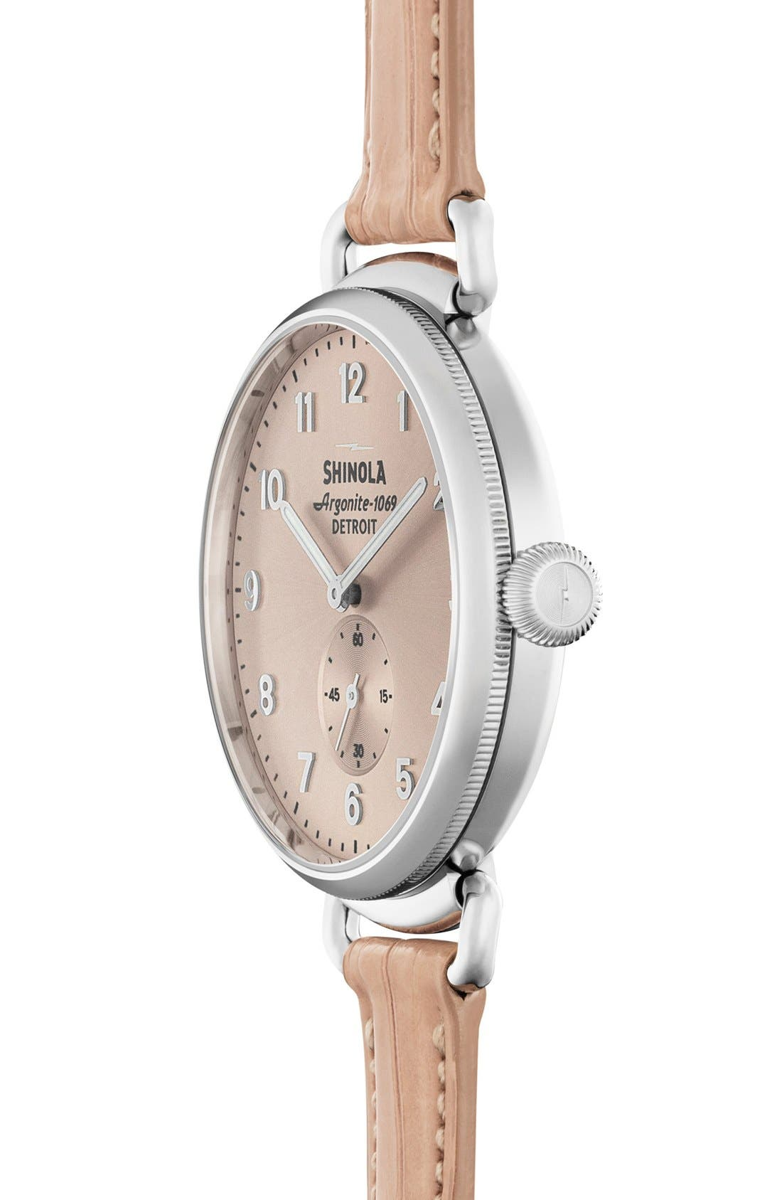 The Canfield Alligator Strap Watch, 38mm,                             Alternate thumbnail 3, color,                             Pink/ Nude