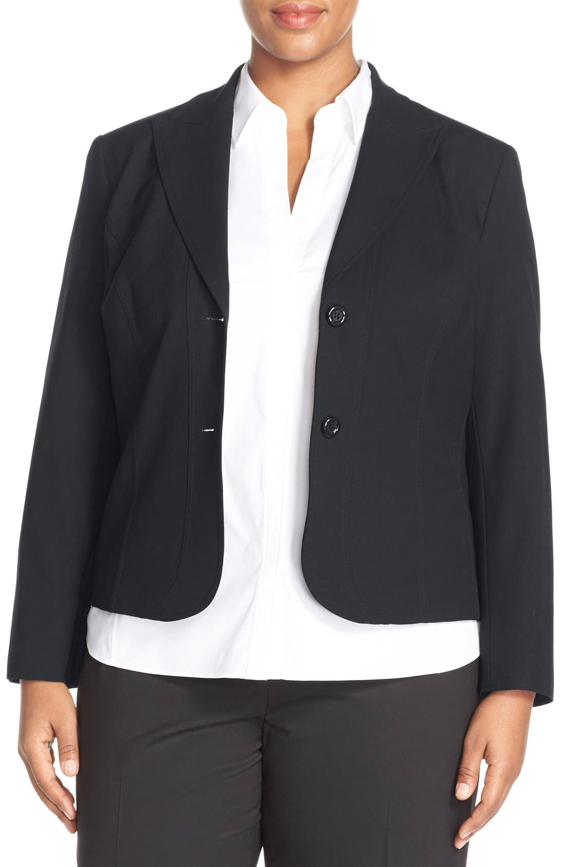 Main Image - Lafayette 148 New York 'Gladstone' Stretch Wool Jacket (Plus Size) (Nordstrom Exclusive)