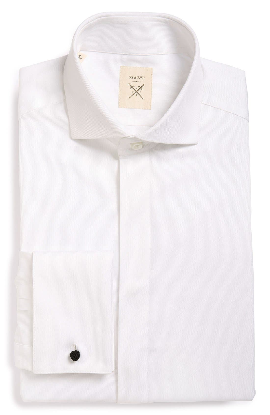 'Pique' Trim Fit Tuxedo Shirt,                         Main,                         color, White