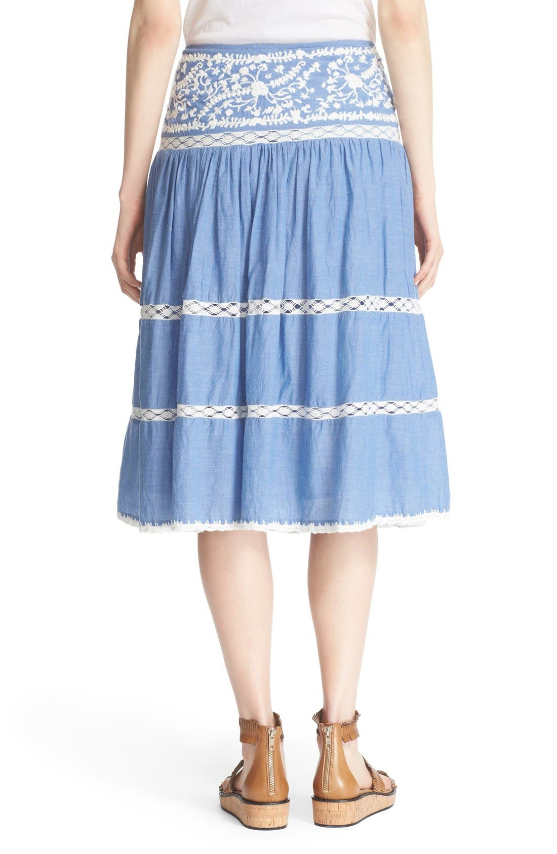 Alternate Image 2  - Joie Embroidered Chambray Skirt