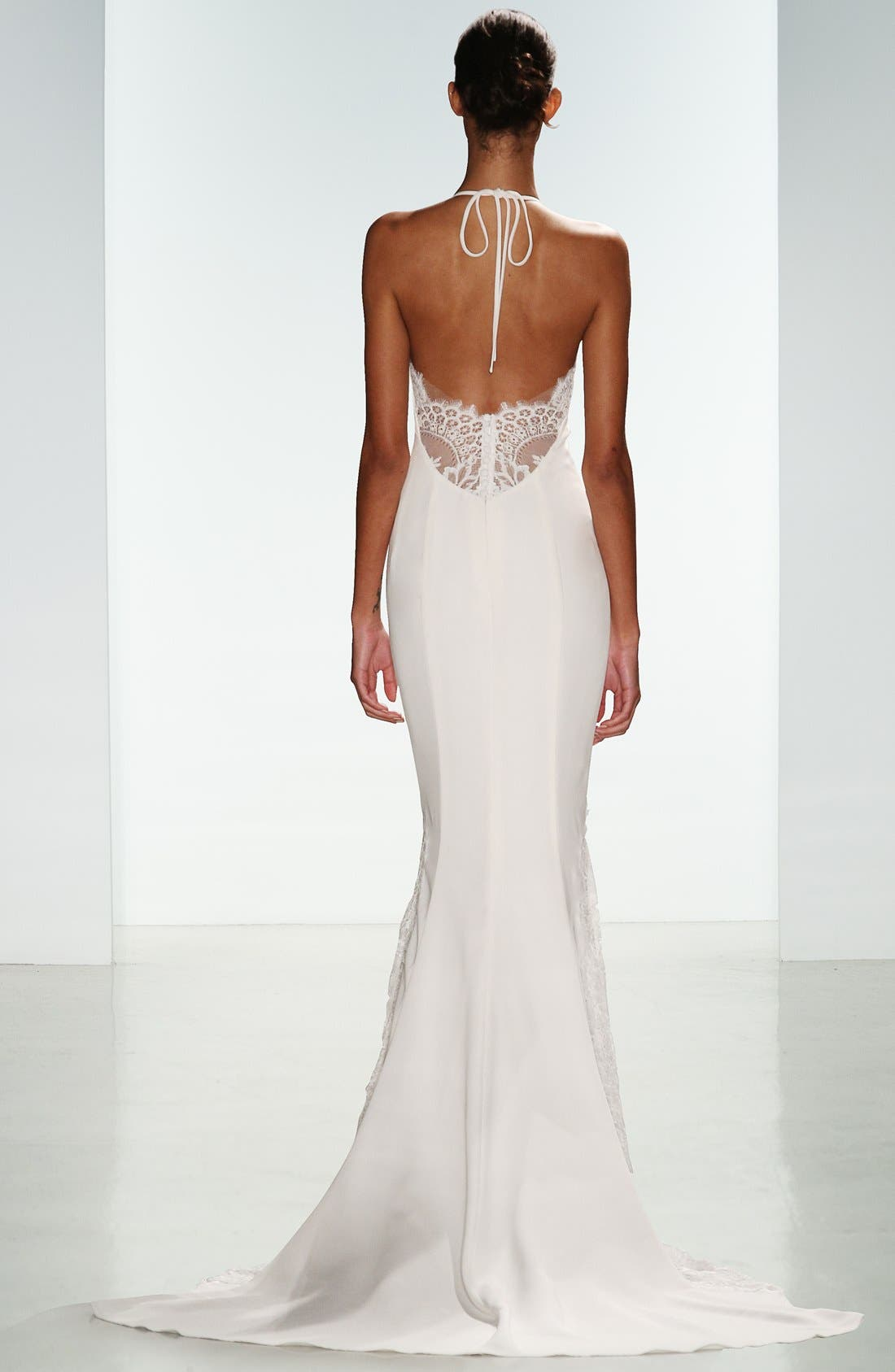 Bree Lace & Crepe Halter Gown,                             Alternate thumbnail 2, color,                             Ivory