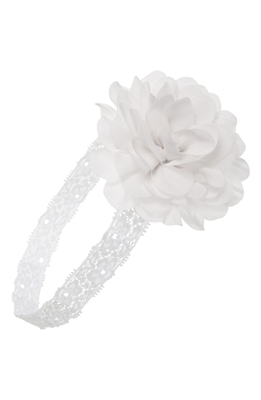 Mum Embellished Lace Head Wrap,                             Main thumbnail 1, color,                             White