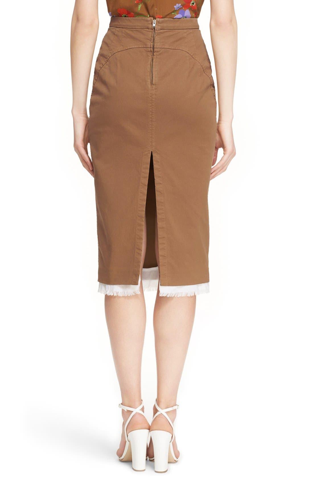 Alternate Image 2  - Nº21 'Lison' Frayed Hem Khaki Pencil Skirt