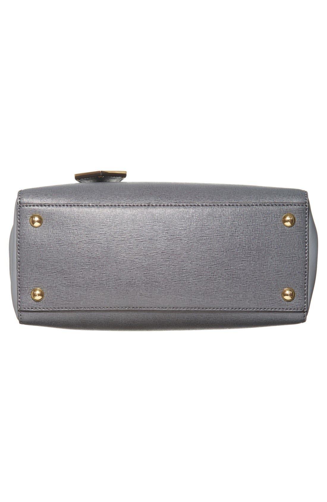 'Petite 2Jours Elite' Leather Shopper,                             Alternate thumbnail 6, color,                             Grey/ Gold Hdwr