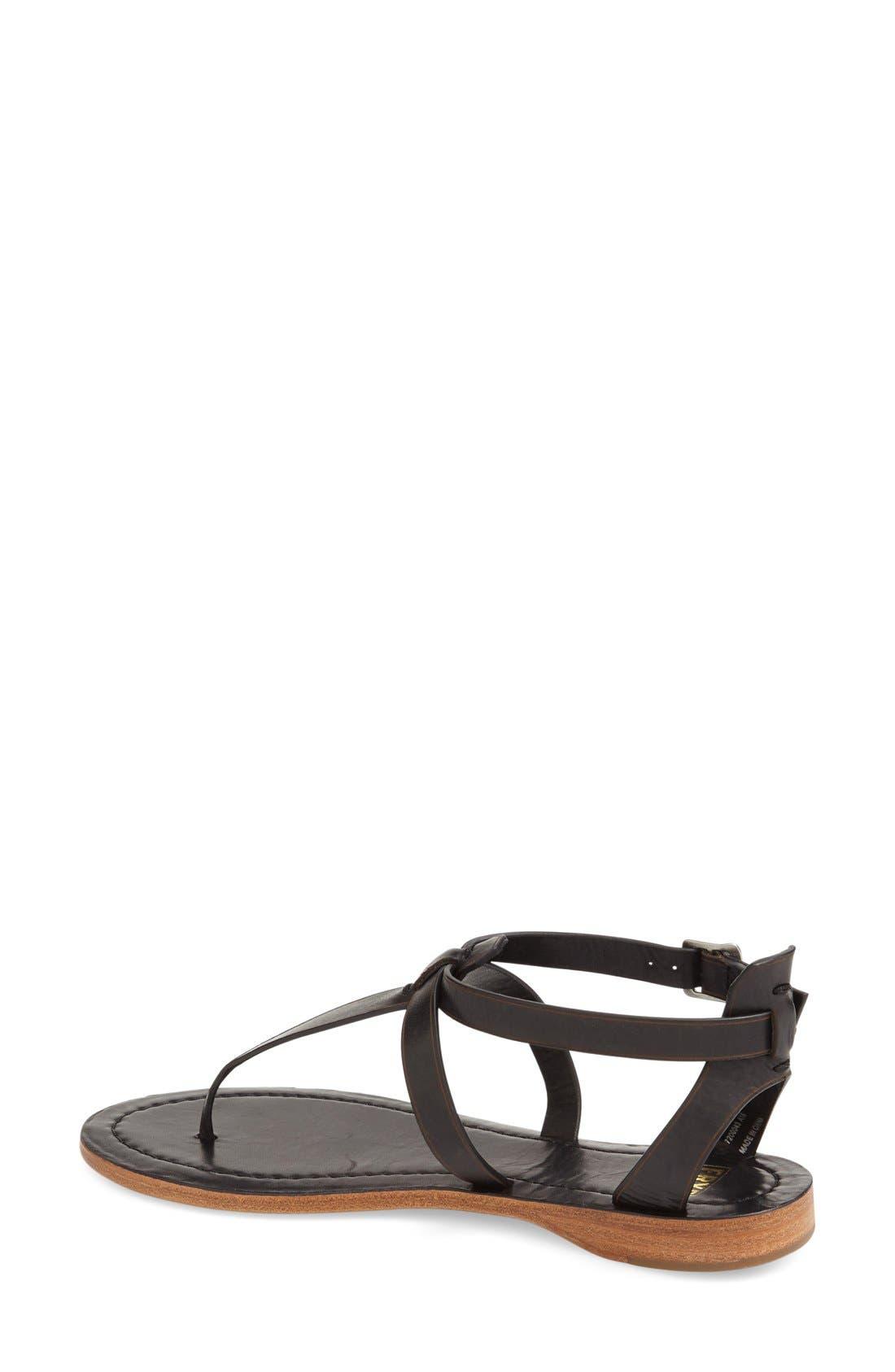 'Rachel' T-Strap Sandal,                             Alternate thumbnail 2, color,                             Black Leather