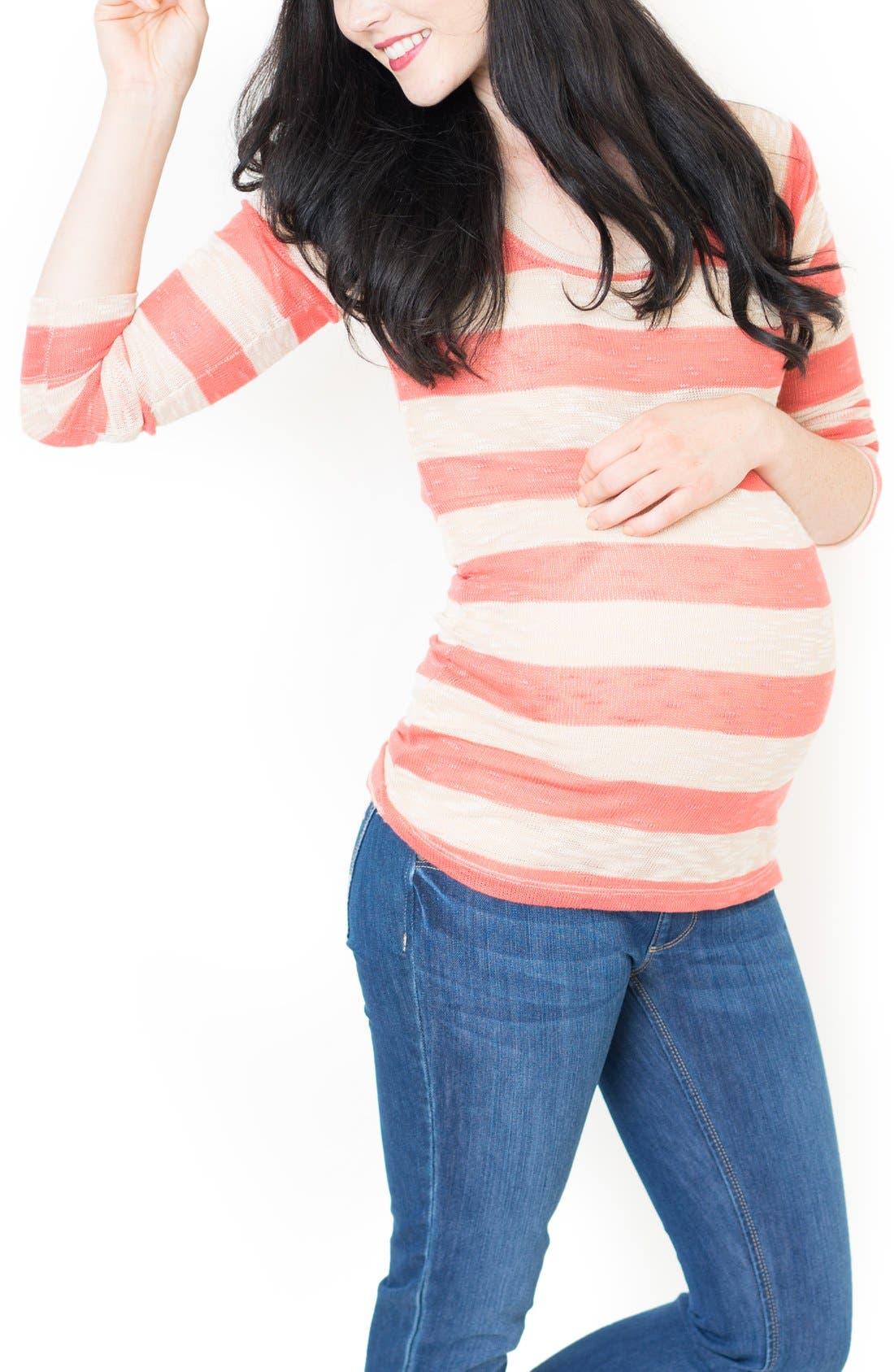 'Claire' Maternity Tunic,                             Main thumbnail 1, color,                             Coral Stripe