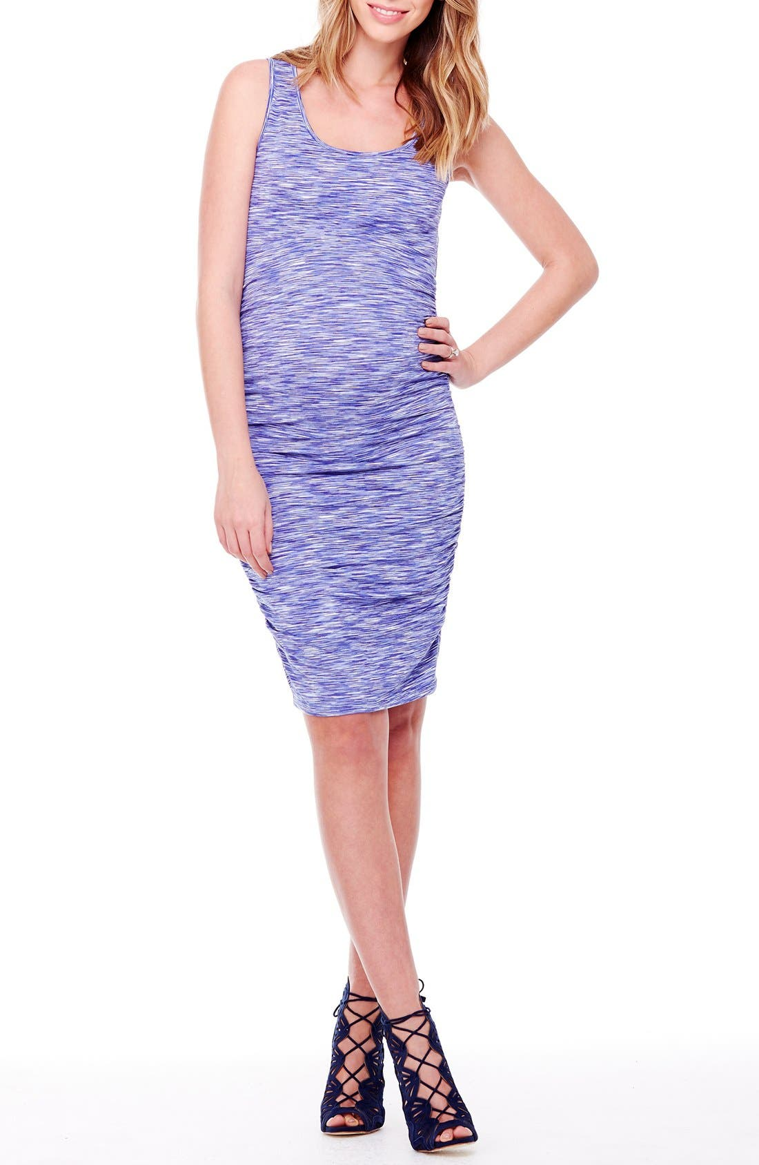 Space Dye Ruched Maternity Tank Dress,                         Main,                         color, Cobalt Space Dye