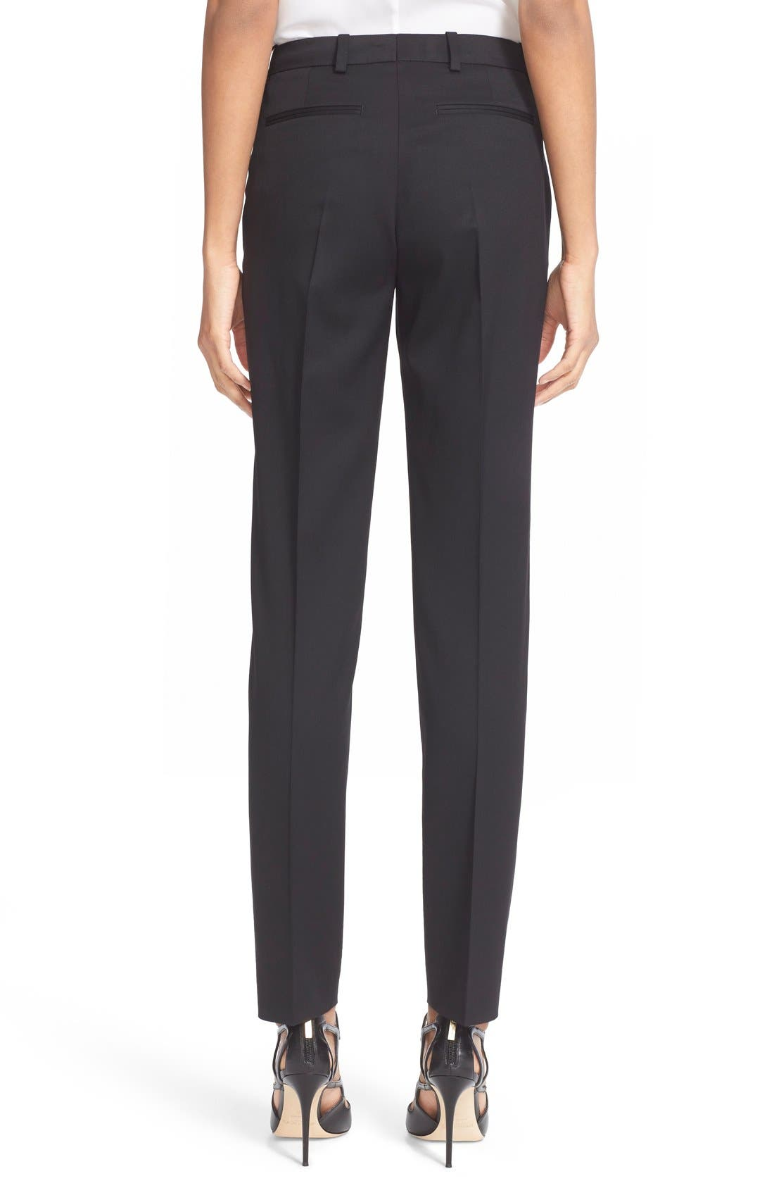'Timeless' Stretch Wool Trousers,                             Alternate thumbnail 3, color,                             Black