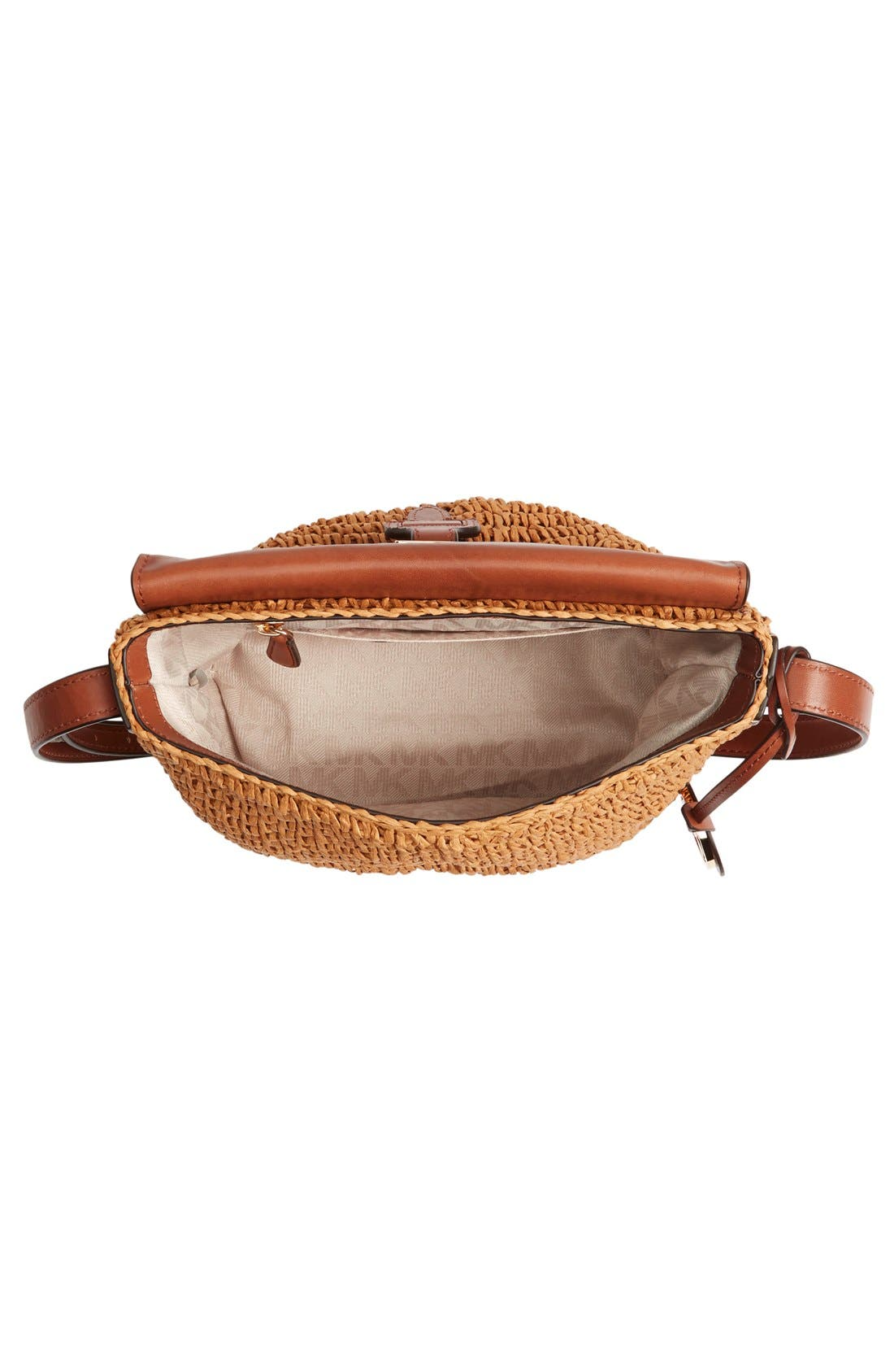 Alternate Image 4  - MICHAEL Michael Kors 'Medium Naomi' Straw & Leather Messenger Bag