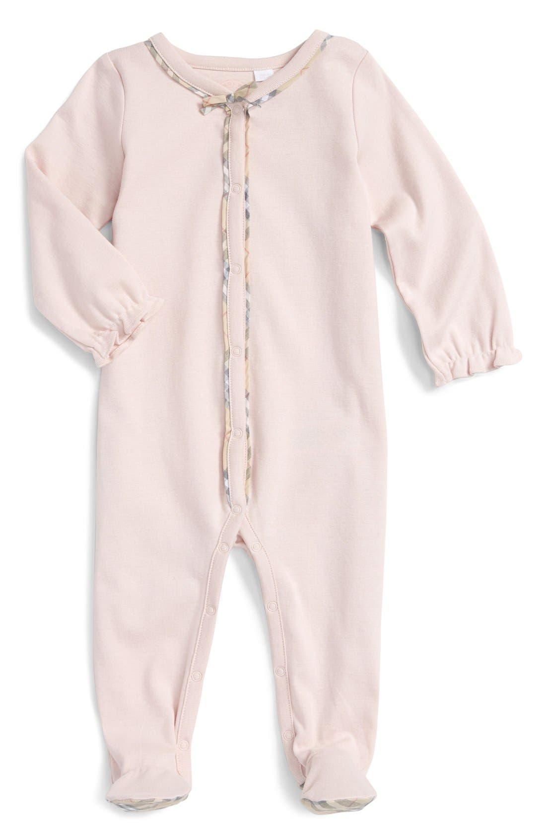 Main Image - Burberry 'Jacey' Cotton Footie (Baby Girls)