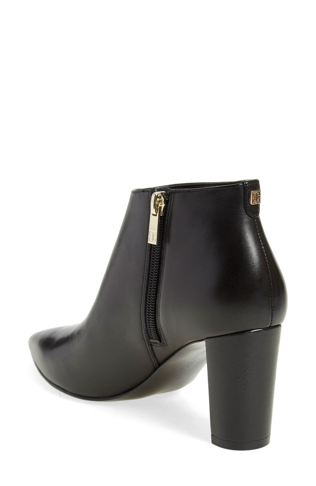 'Lettie' Pointy Toe Bootie,                             Alternate thumbnail 2, color,                             Black Leather