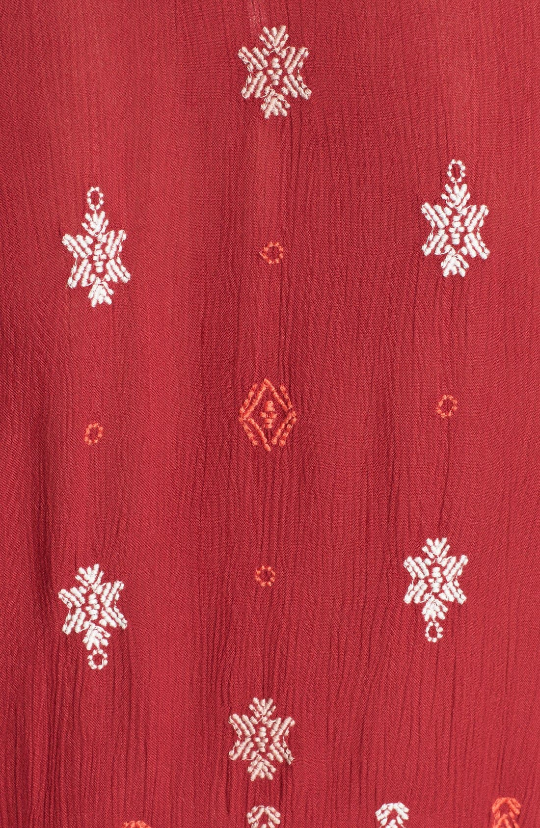 'Star Gazer' Embroidered Tunic Dress,                             Alternate thumbnail 6, color,                             Red Combo