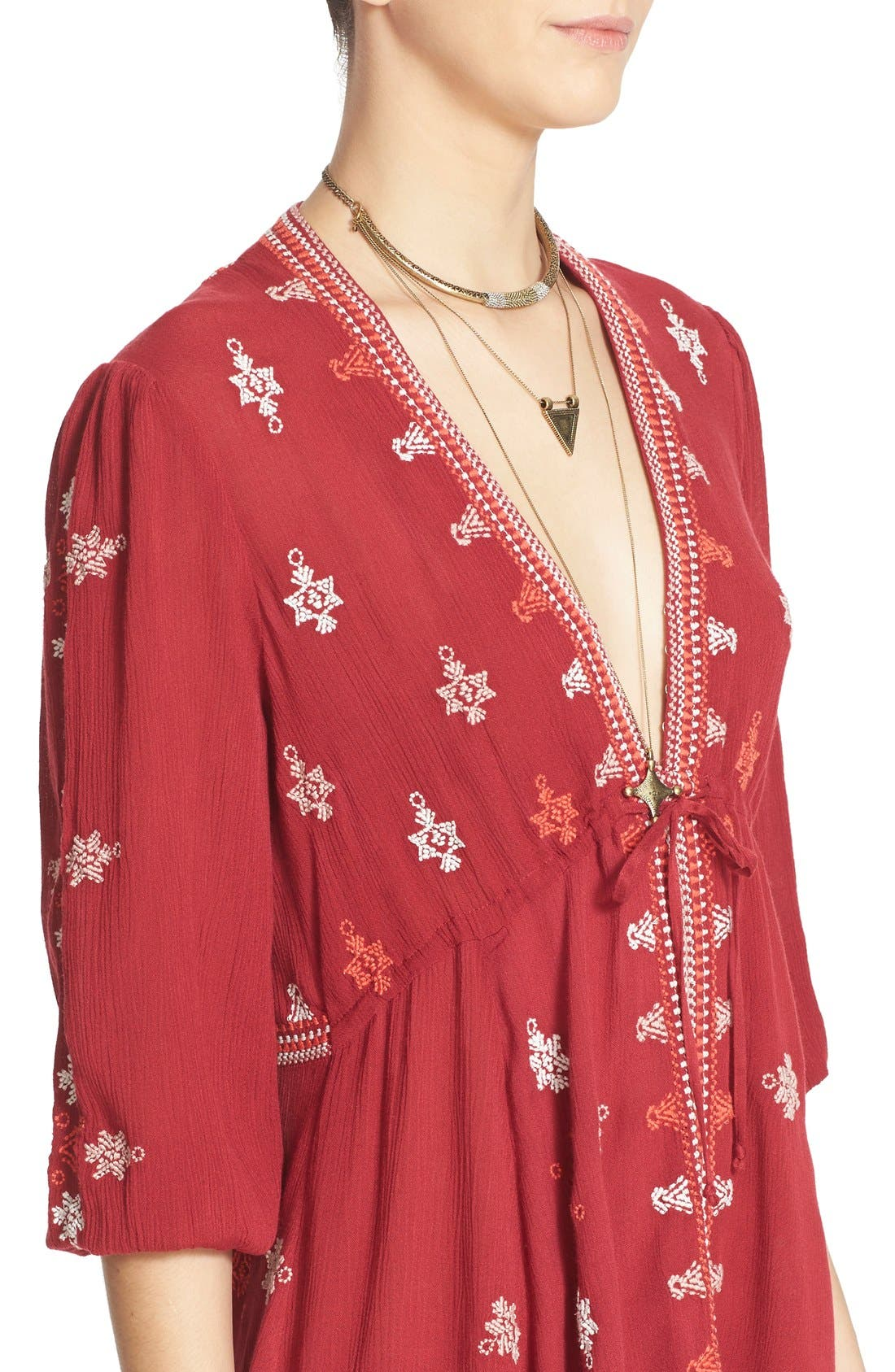 'Star Gazer' Embroidered Tunic Dress,                             Alternate thumbnail 5, color,                             Red Combo