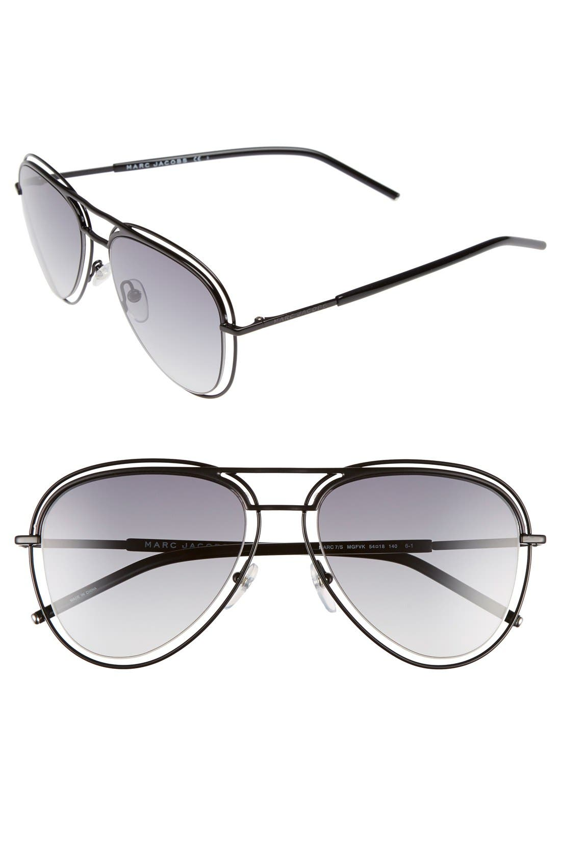 54mm Aviator Sunglasses,                         Main,                         color, Shiny Black