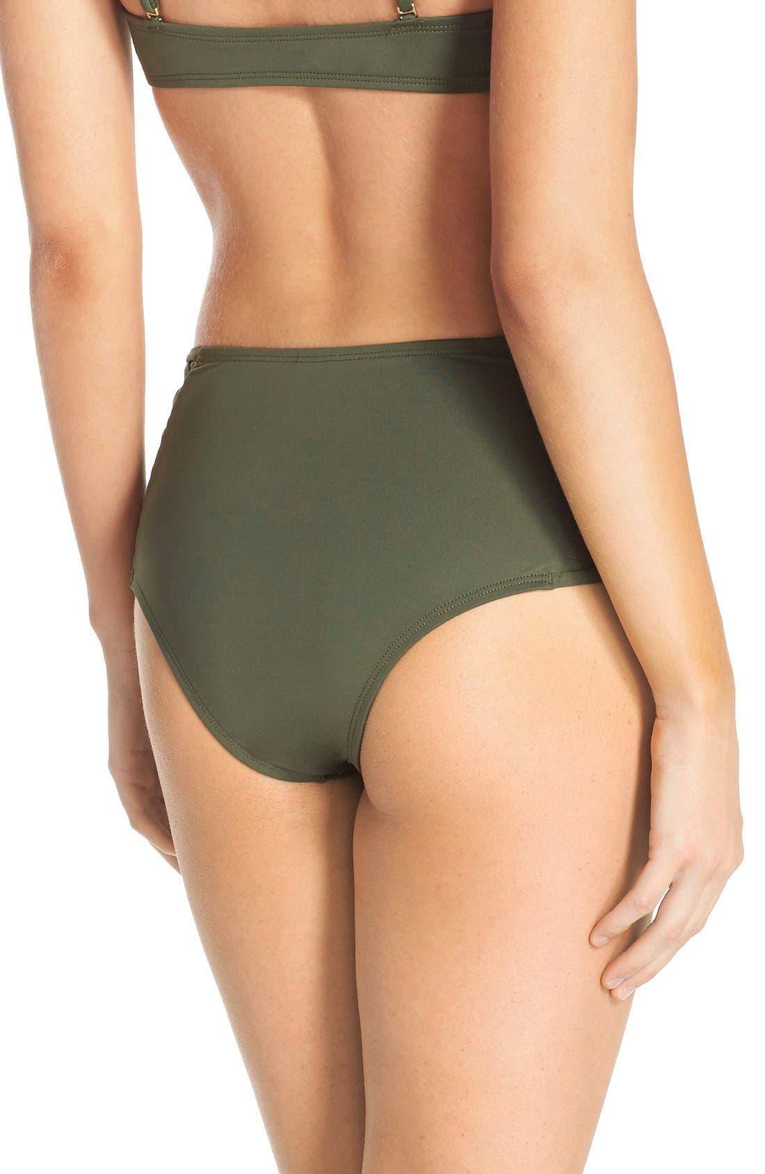 Tigress Classic High Waist Bikini Bottoms,                             Alternate thumbnail 2, color,                             Fern