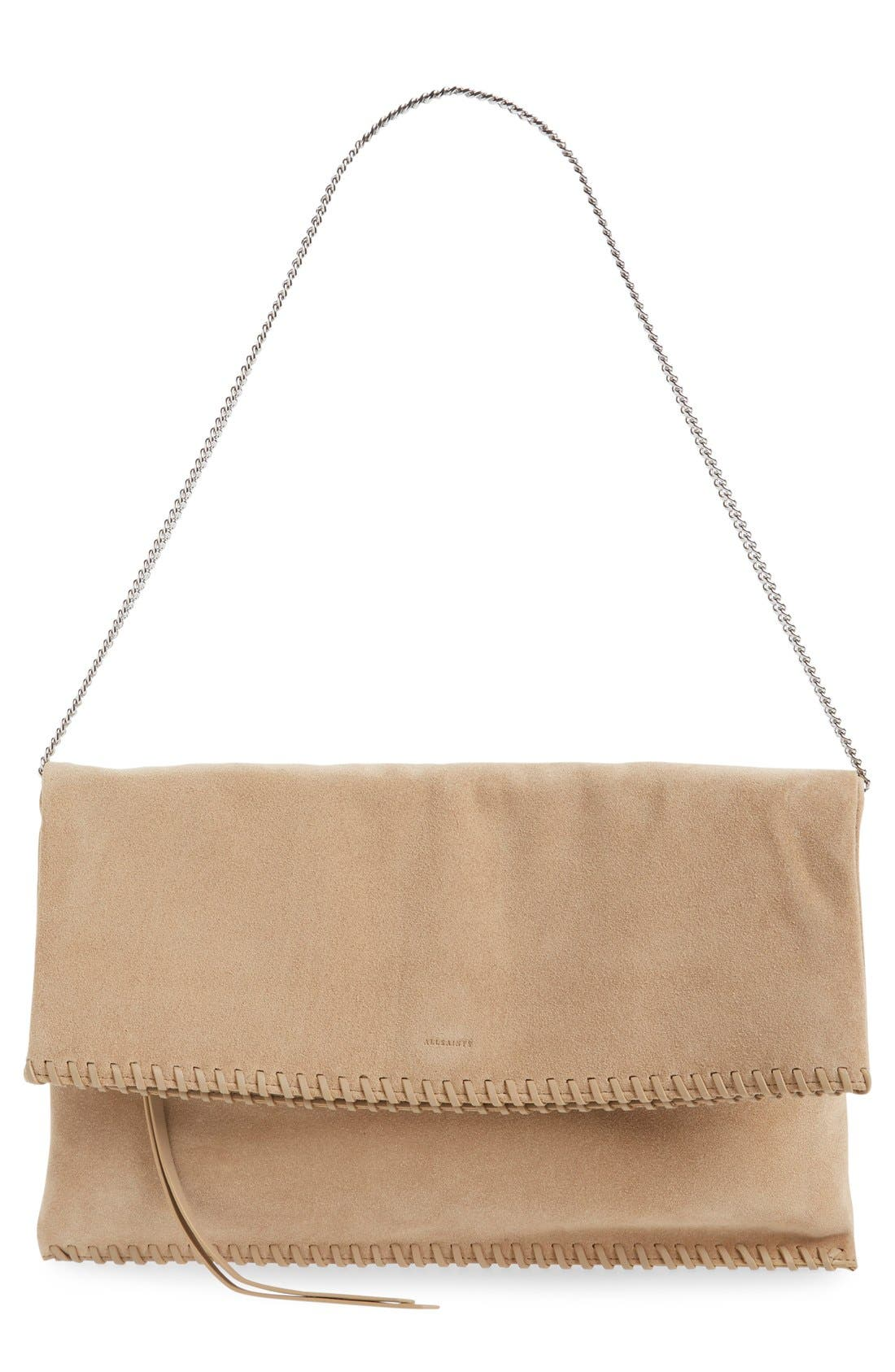 Alternate Image 1 Selected - ALLSAINTS 'Fleur de Lis' Suede Foldover Clutch
