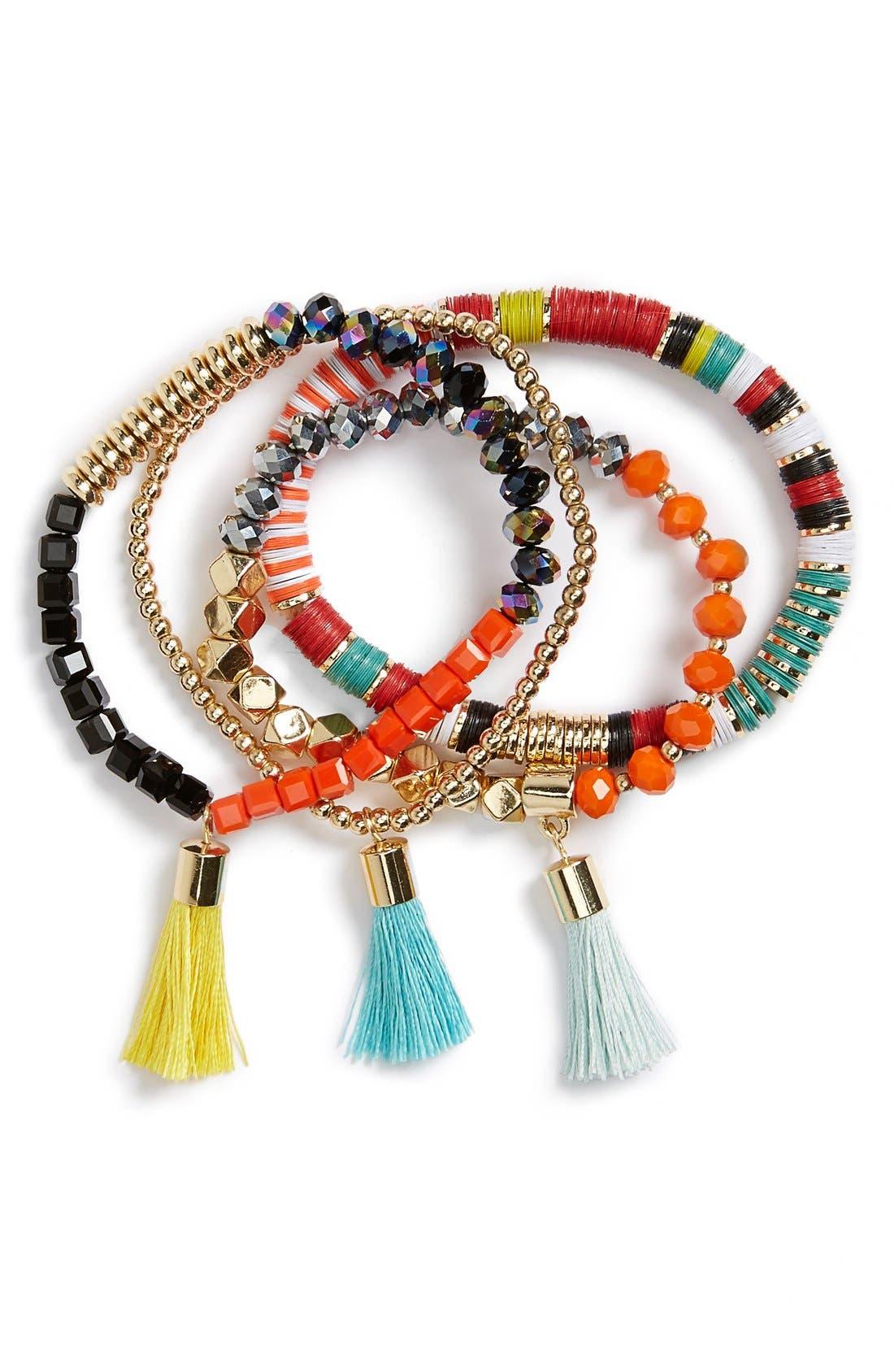 Main Image - BaubleBar 'Maldives' Beaded Stretch Bracelets (Set of 4)