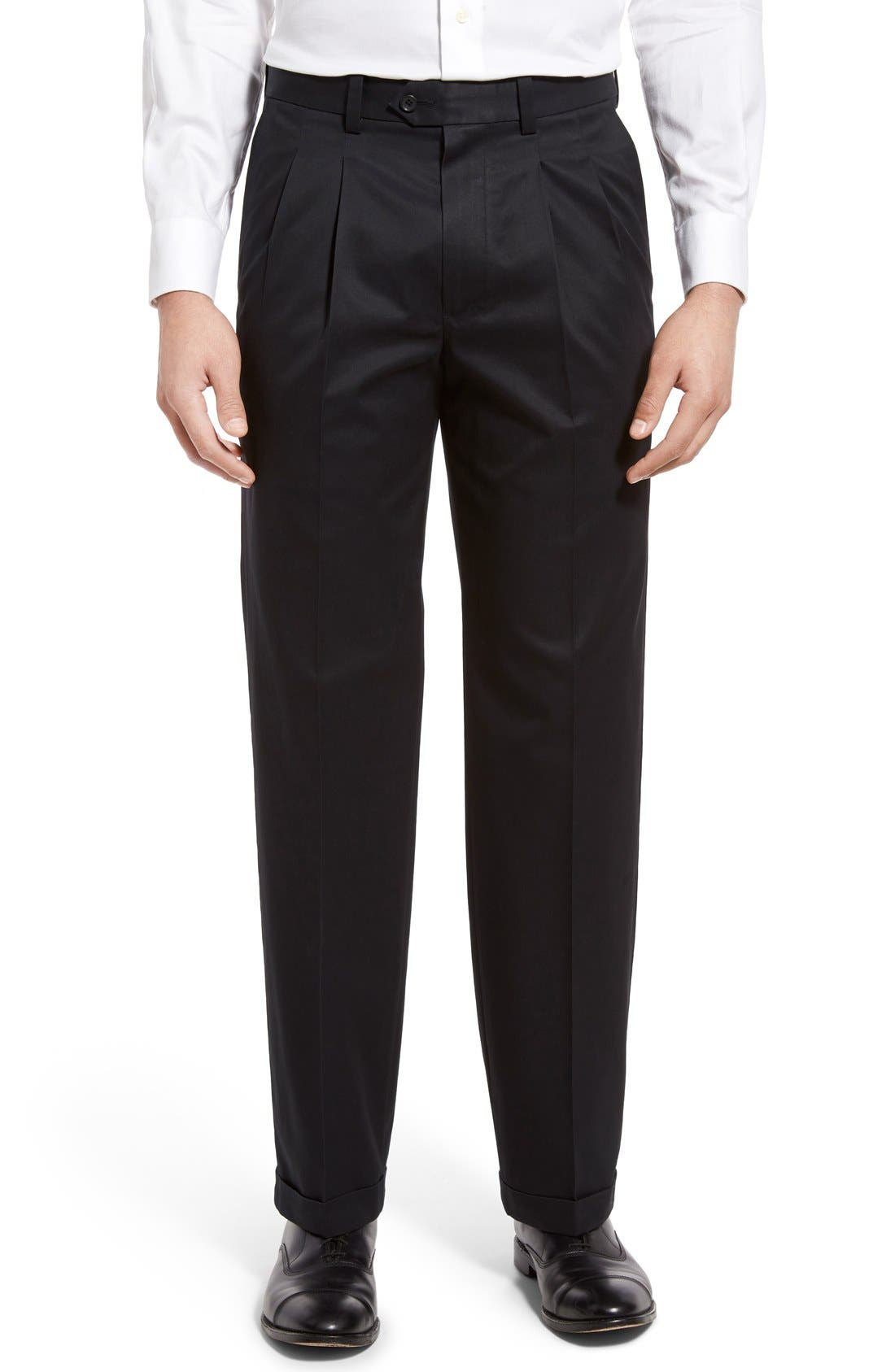 Nordstrom Mens Shop Classic Smartcare™ Supima® Cotton Pleated Trousers