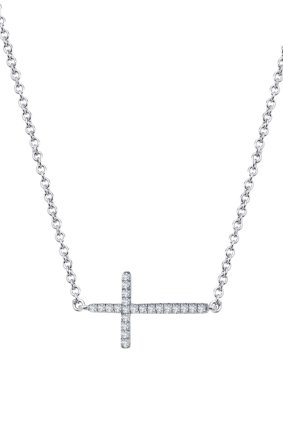 'Lassaire' Cross Pendant Necklace,                         Main,                         color, Silver
