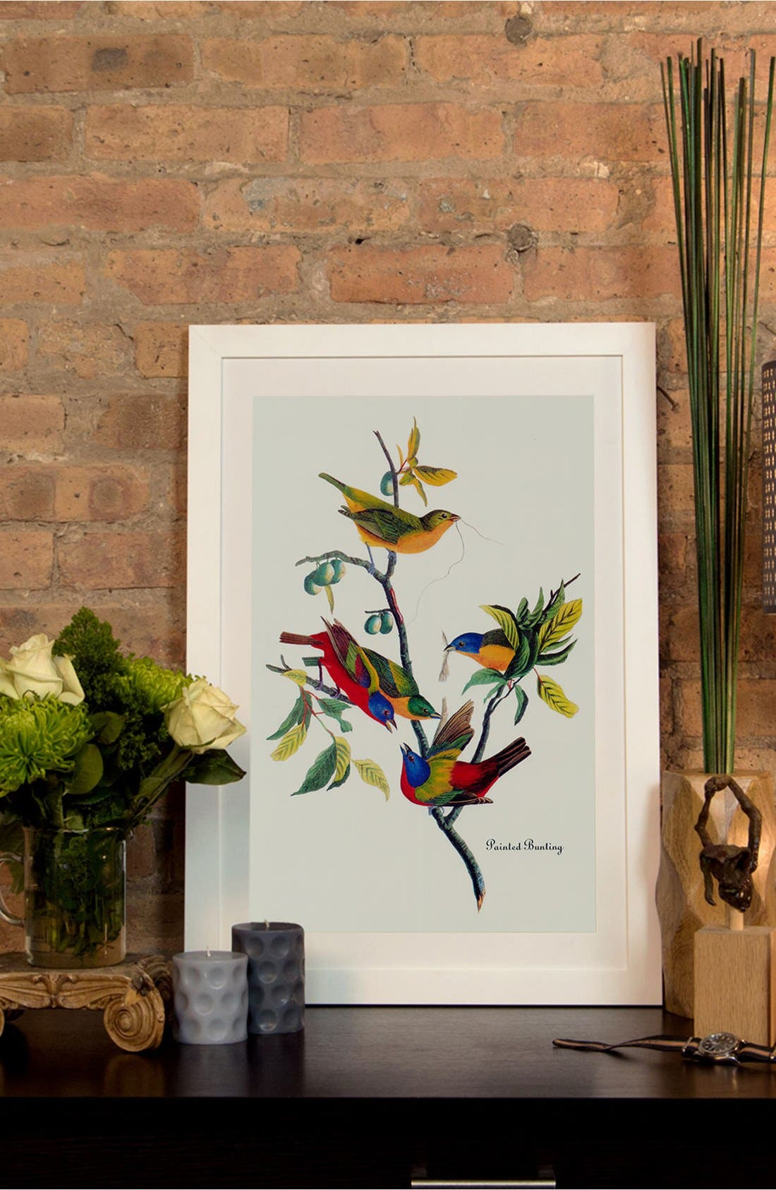 Alternate Image 2  - iCanvas 'Painted Bunting' Framed Fine Art Print